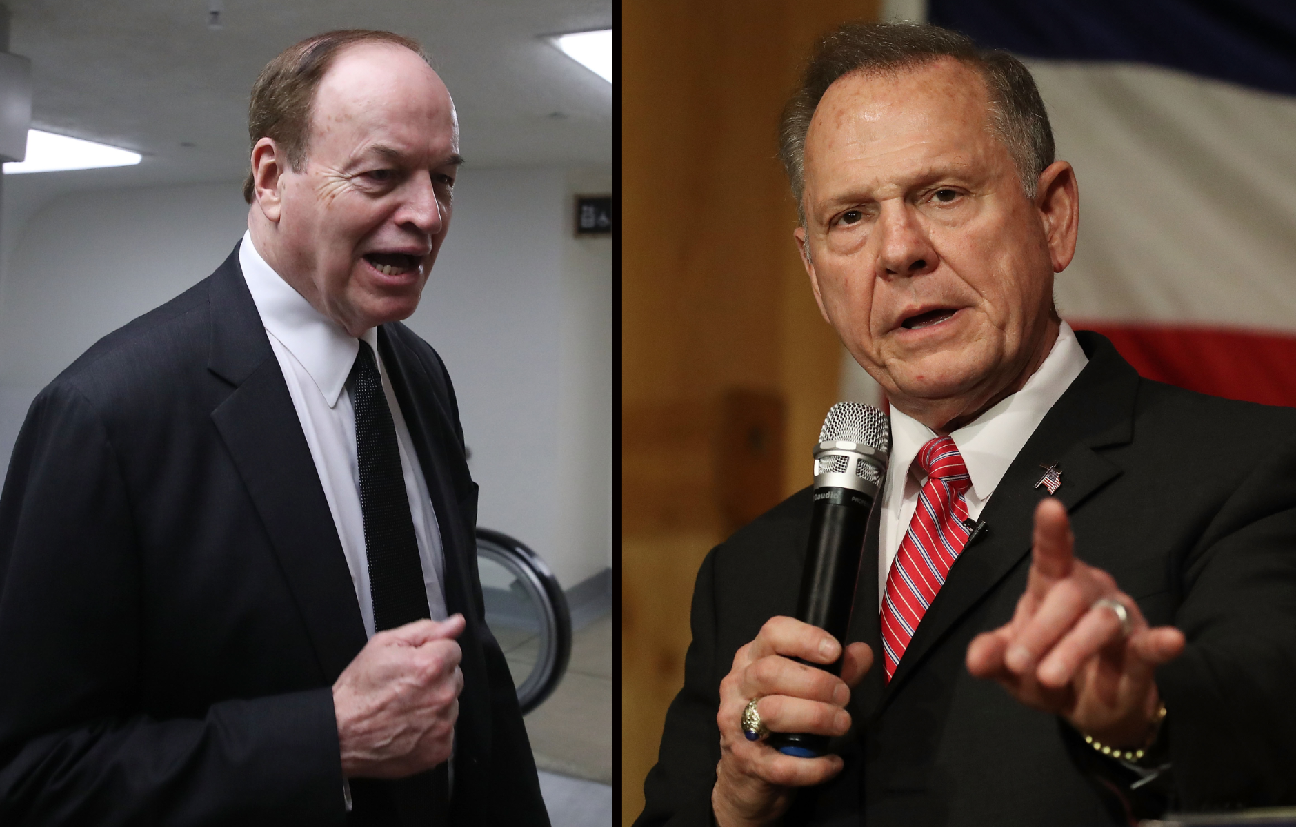 Alabama Sen. Richard Shelby (L) and Alabama Senate candidate Roy Moore