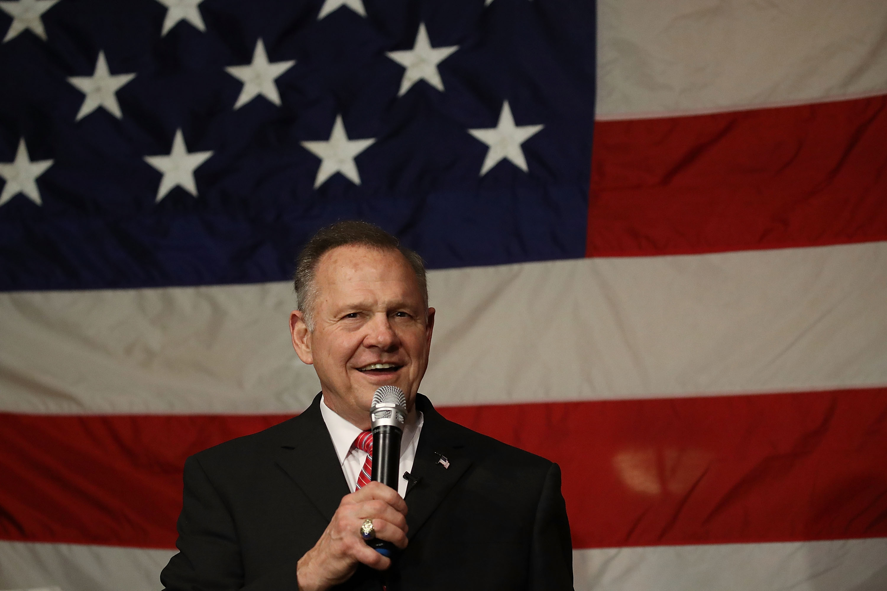 Republican Senatorial candidate Roy Moore speaks during a campaign event on Dec. 5, 2017 in Fairhope, Alabama.