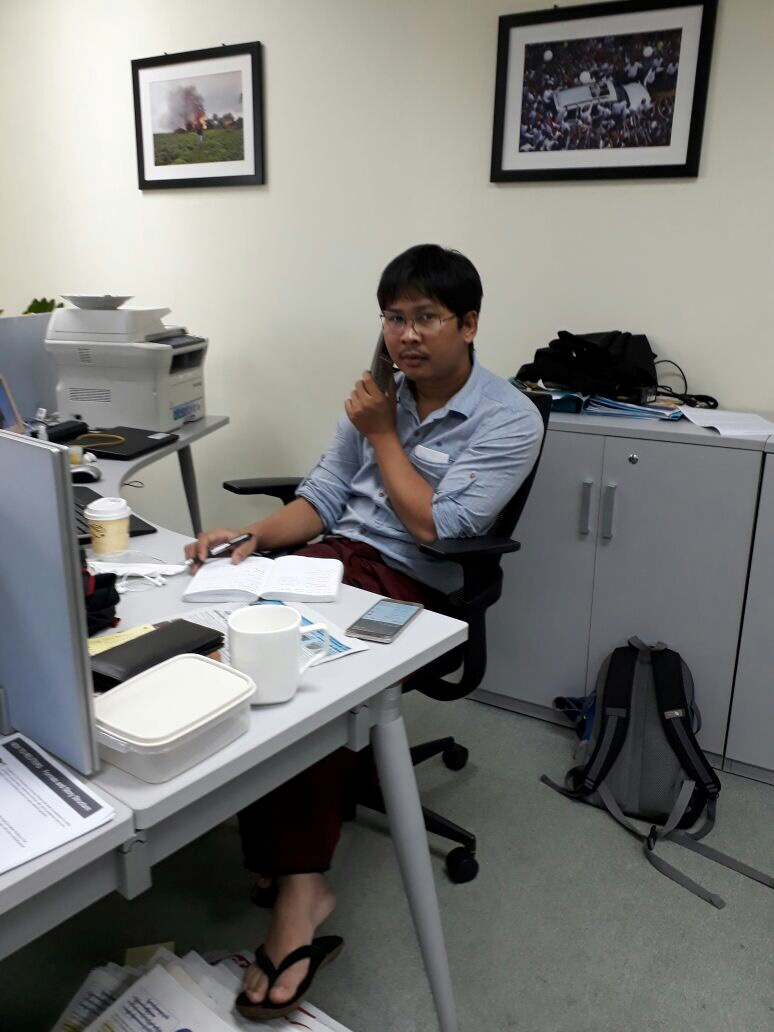 Reuters journalist Wa Lone is seen at the Reuters office in this undated photo in Yangon, Myanmar.