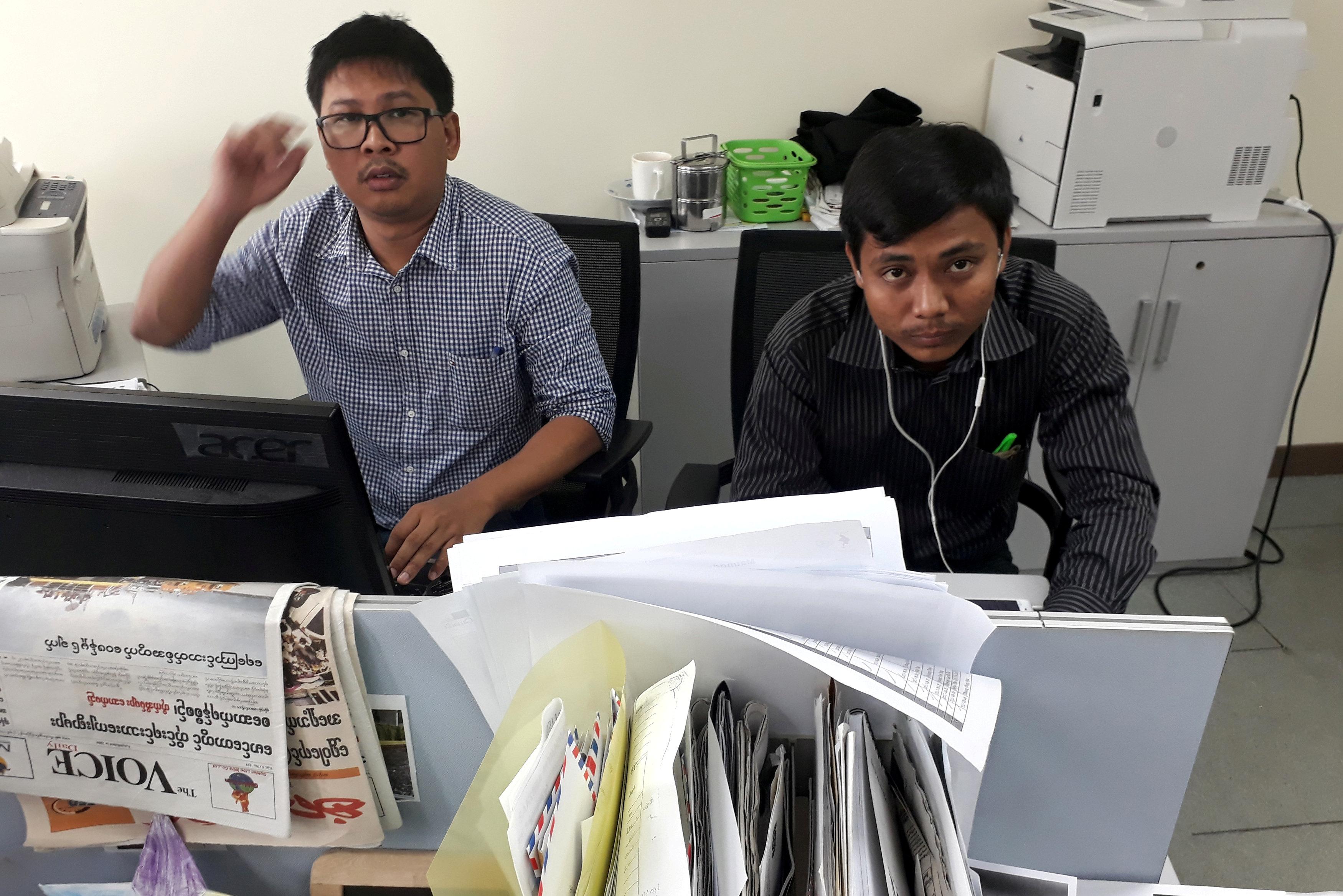 Journalists Wa Lone and Kyaw Soe Oo at the Reuters office in Yangon, Myanmar on Dec. 11, 2017.