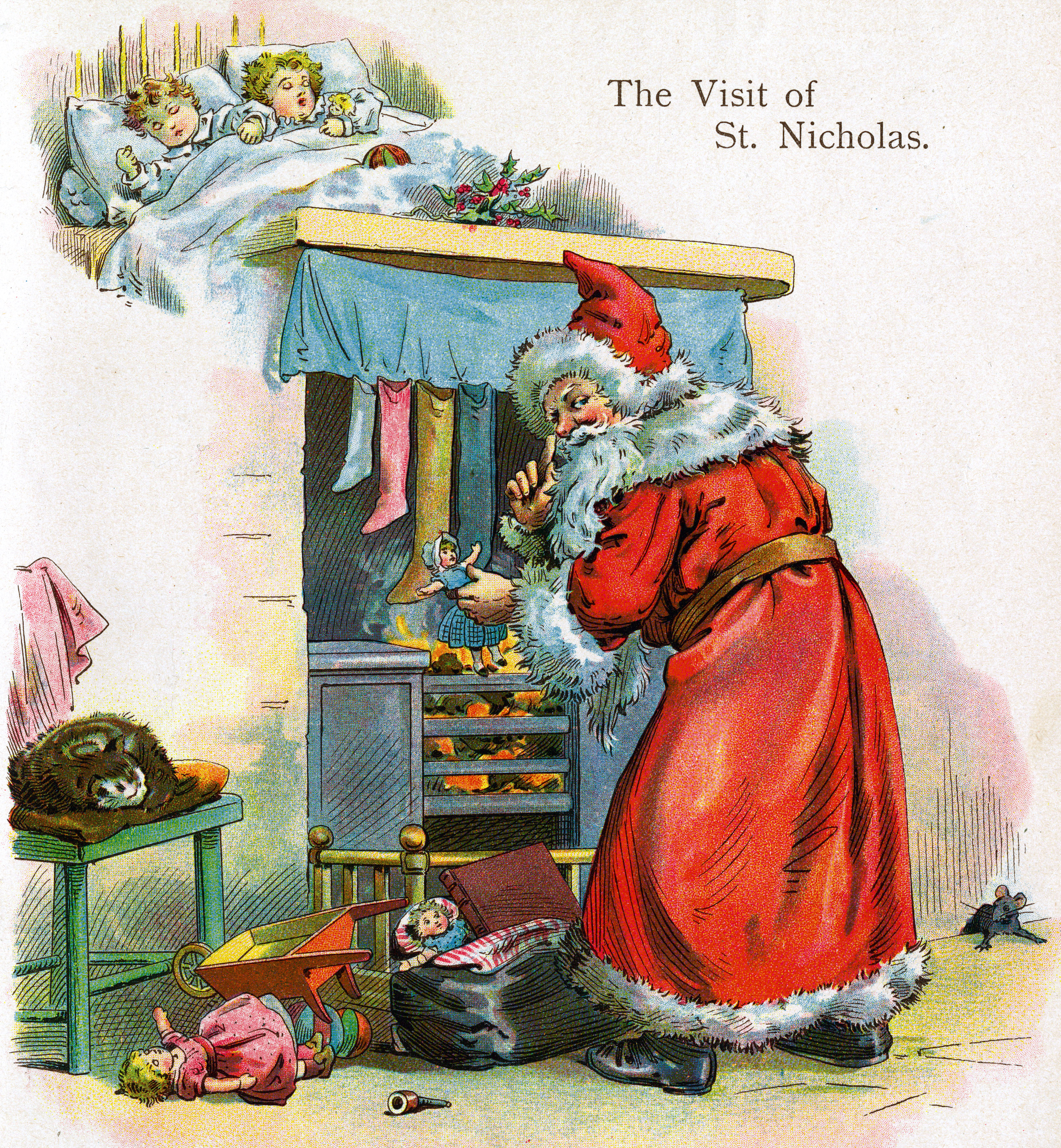 A lithographic book plate from one of McLoughlin's Christmas books shows Santa Claus by the chimney and was published in New York City in 1895.