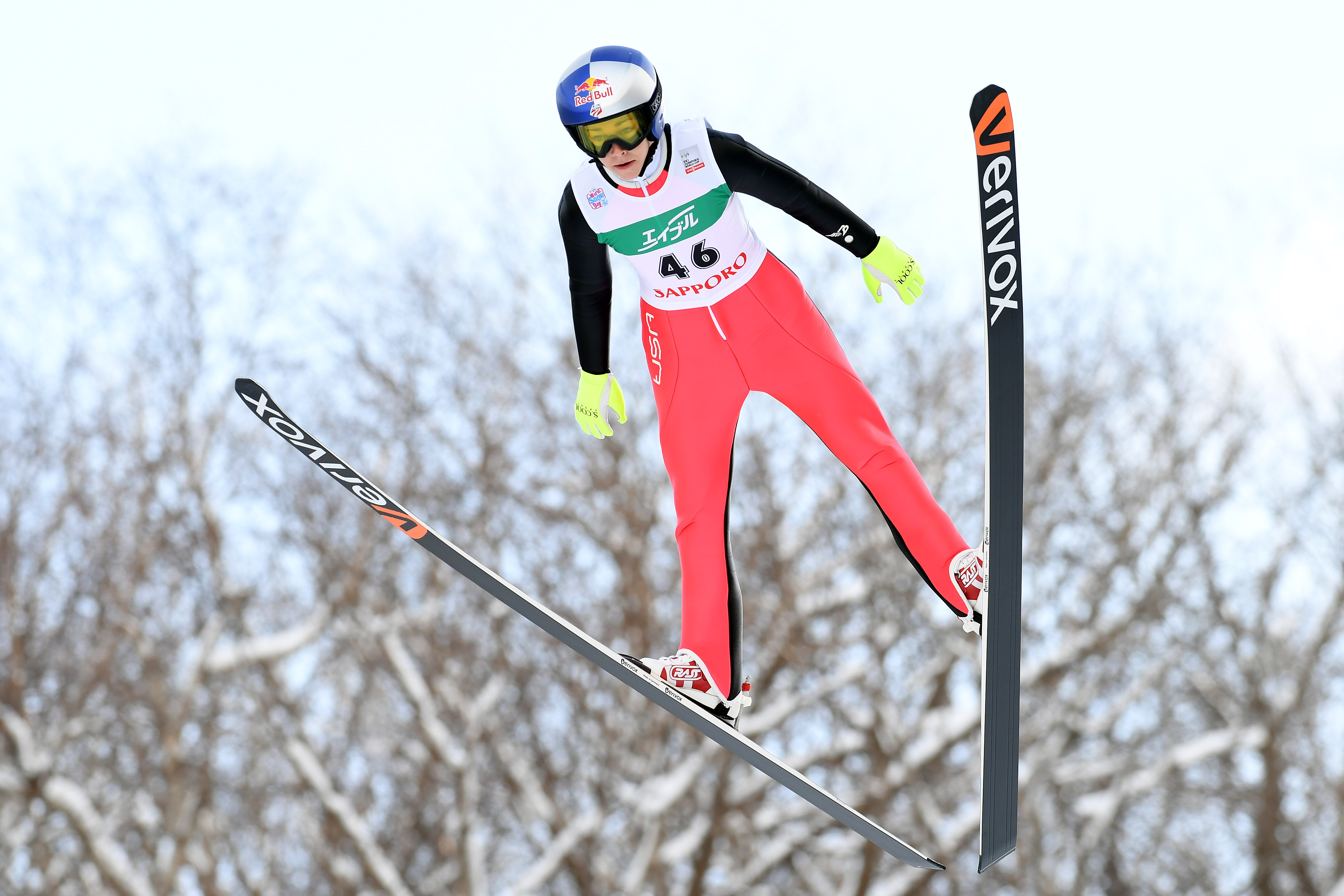 Sarah Hendrickson of the USA competes in the Ladies HS 100 during the FIS Women's Ski Jumping World Cup Sapporo at the Miyanomori Ski Jump Stadium on January 15, 2017 in Sapporo, Japan. Atsushi Tomura—Getty Images.