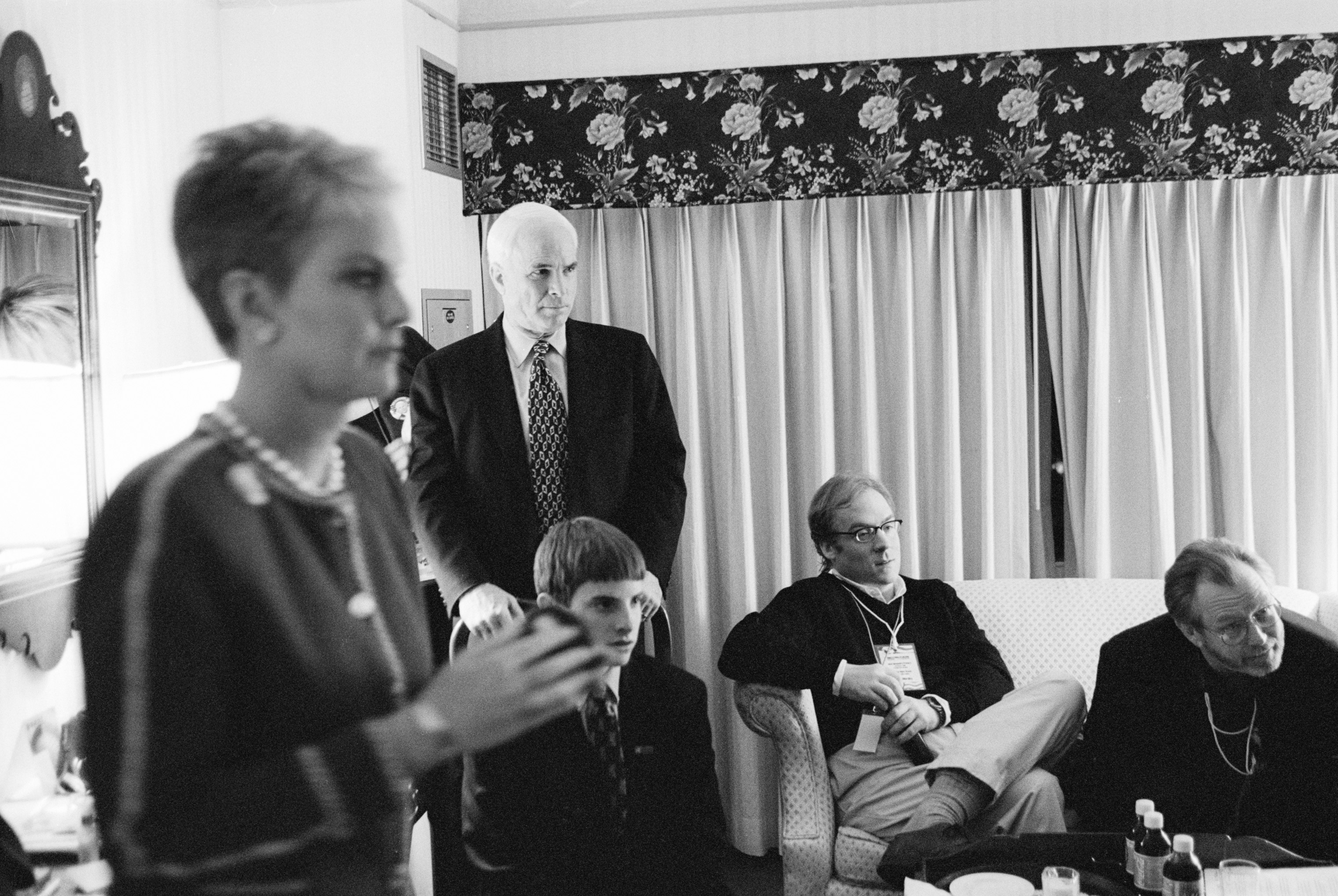 Presidential candidate John McCain with his family and members of his campaign team watching the progress of the state primary in N.H. on Feb. 1, 2000.