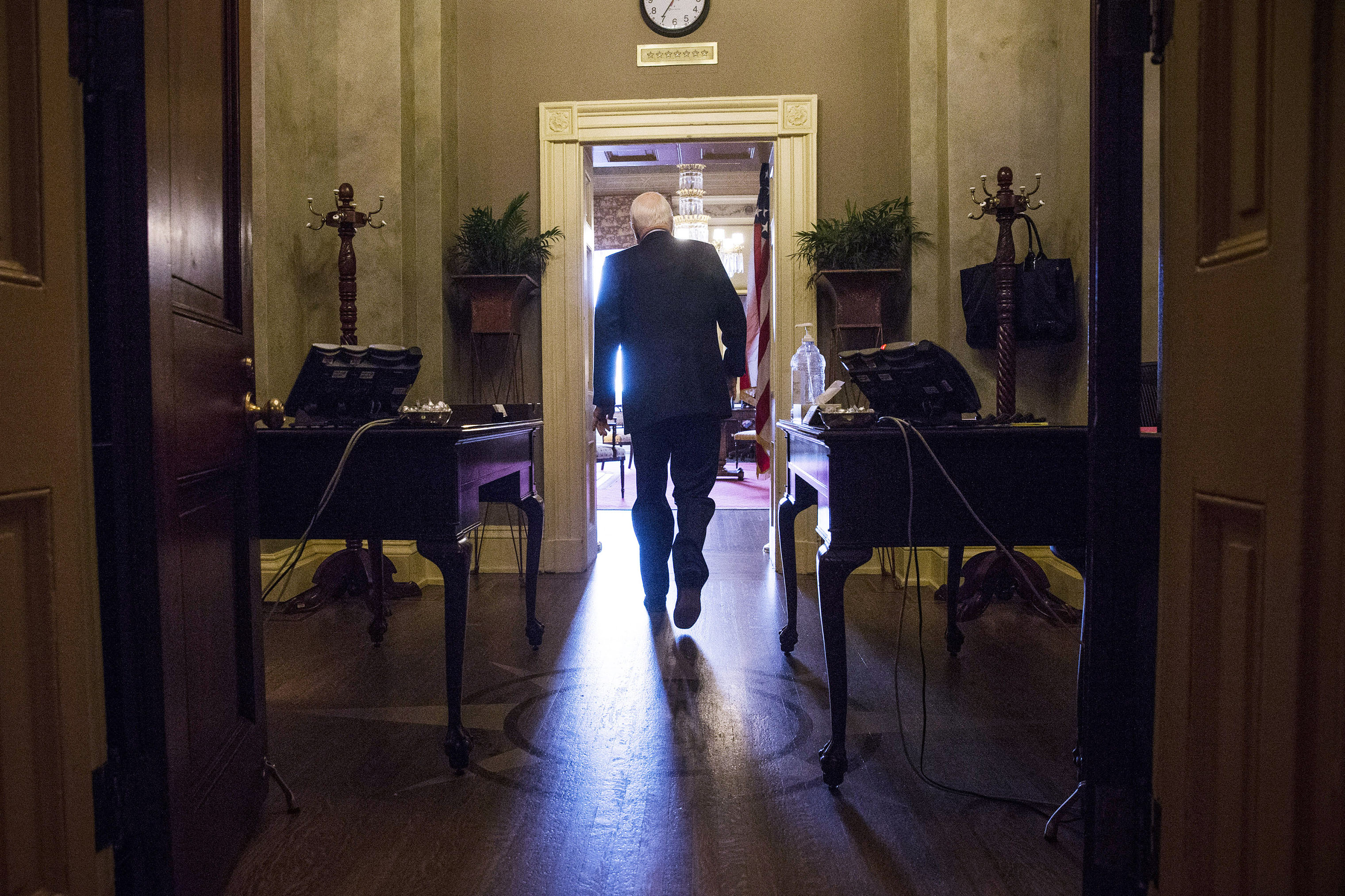 Sen. John McCain arrives at Senate Minority Leader Mitch McConnell's office in Washington, on Oct. 16, 2013.