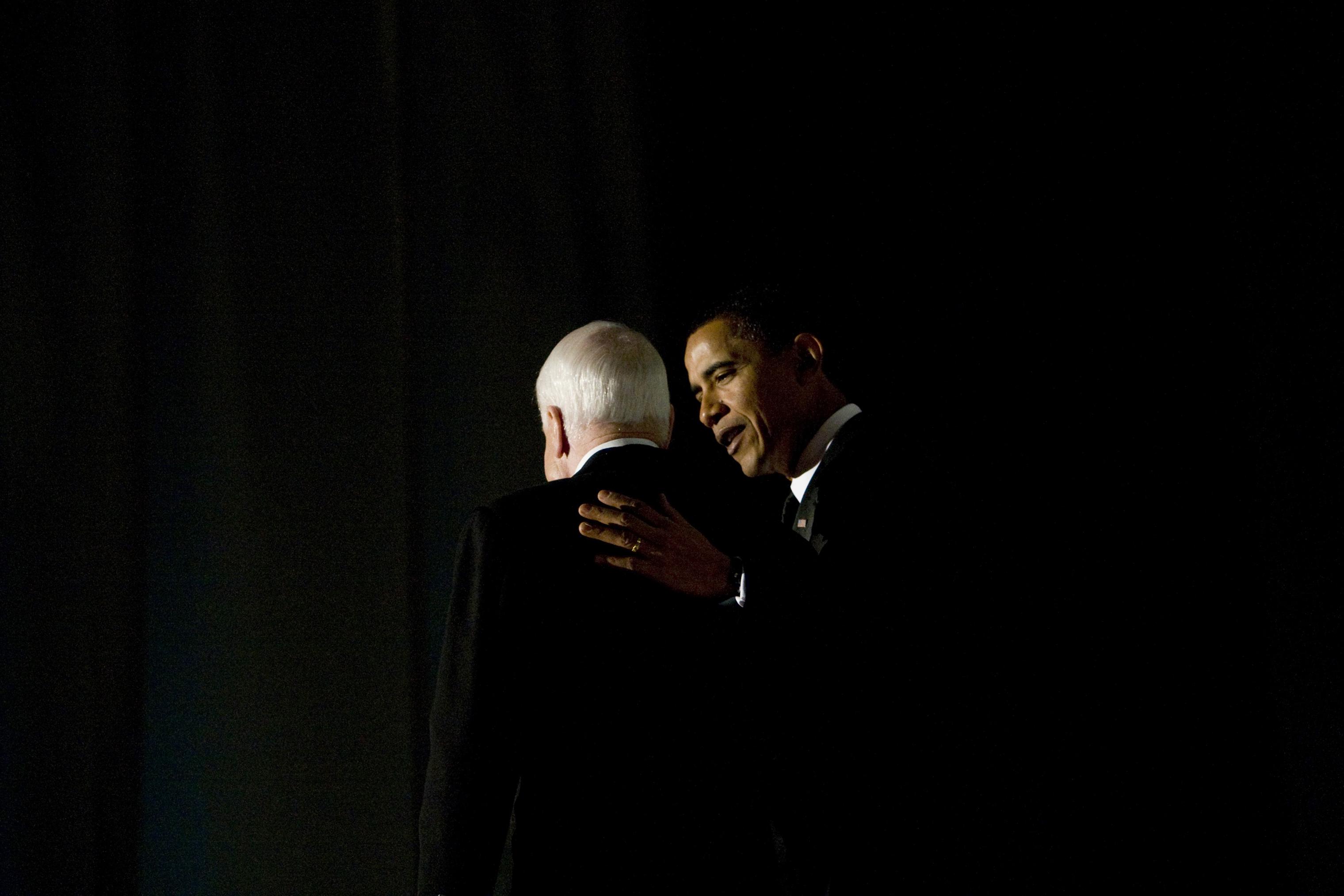 President-elect Barack Obama addresses the Bipartisan Dinner honoring Sen. John McCain in Washington on Jan. 19, 2009.