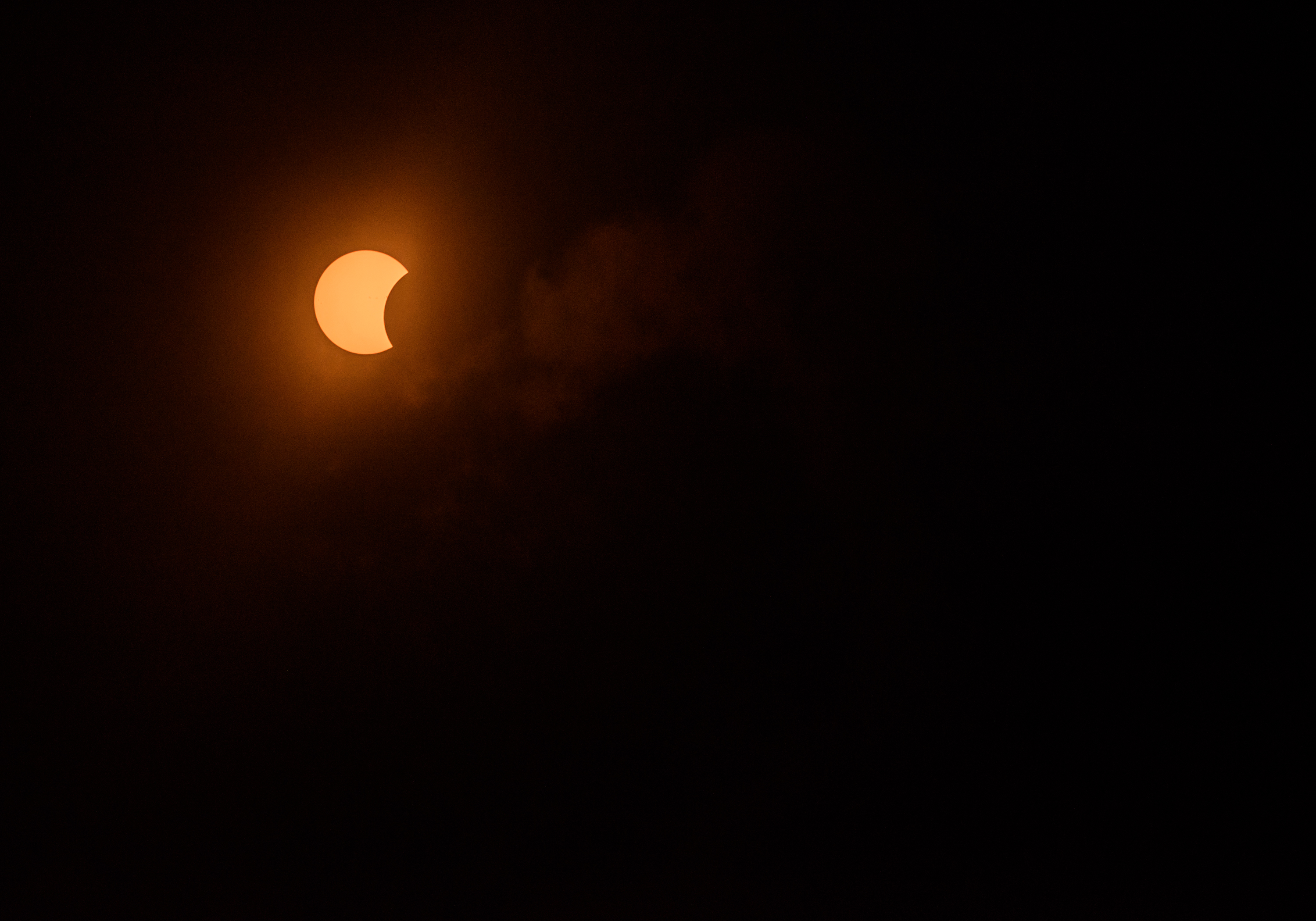 The solar eclipse is seen on August 21, 2017 in New York City.