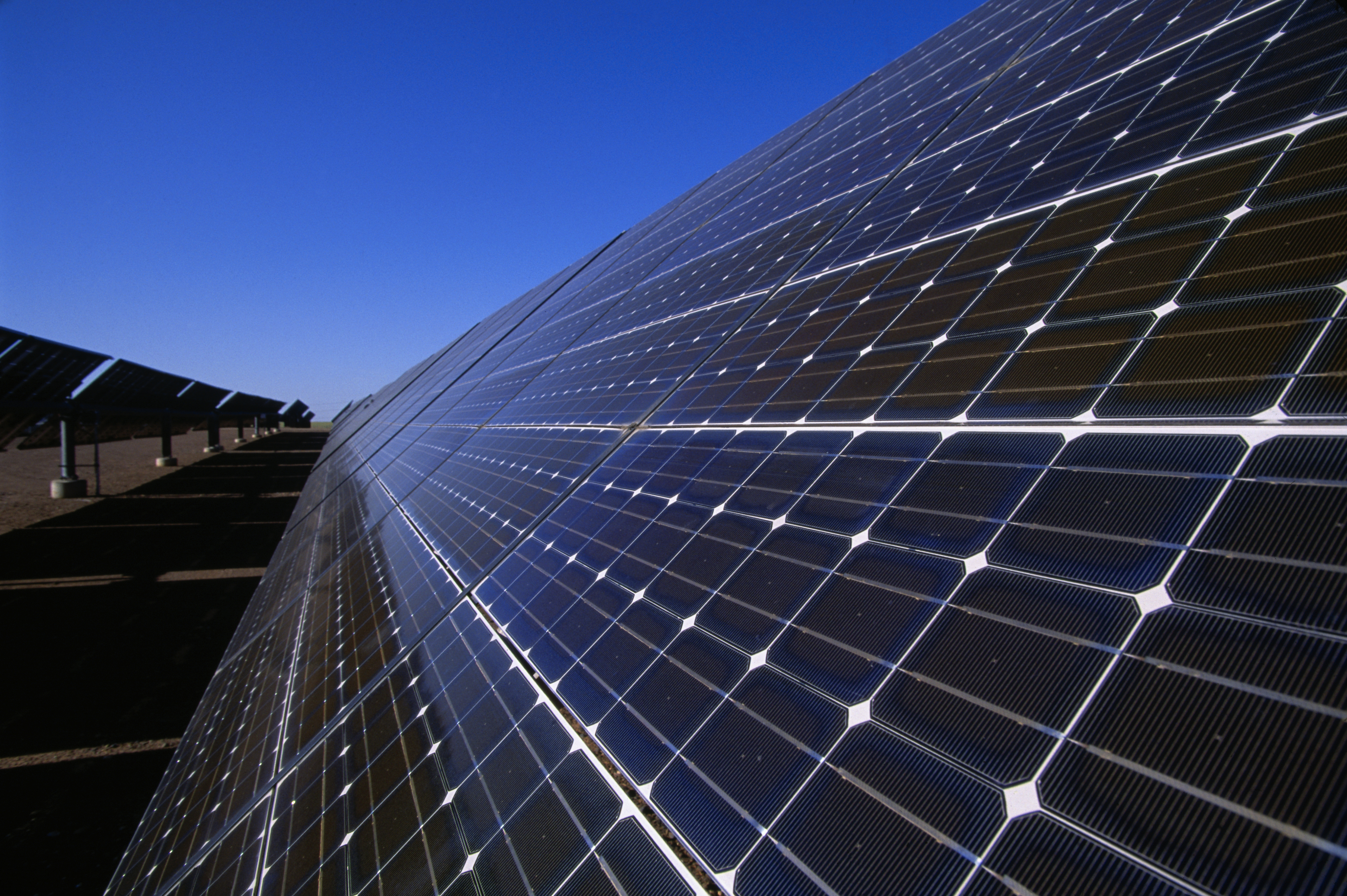 Solar energy panels now dominate the site of Rancho Seco, a decommissioned nuclear power plant.