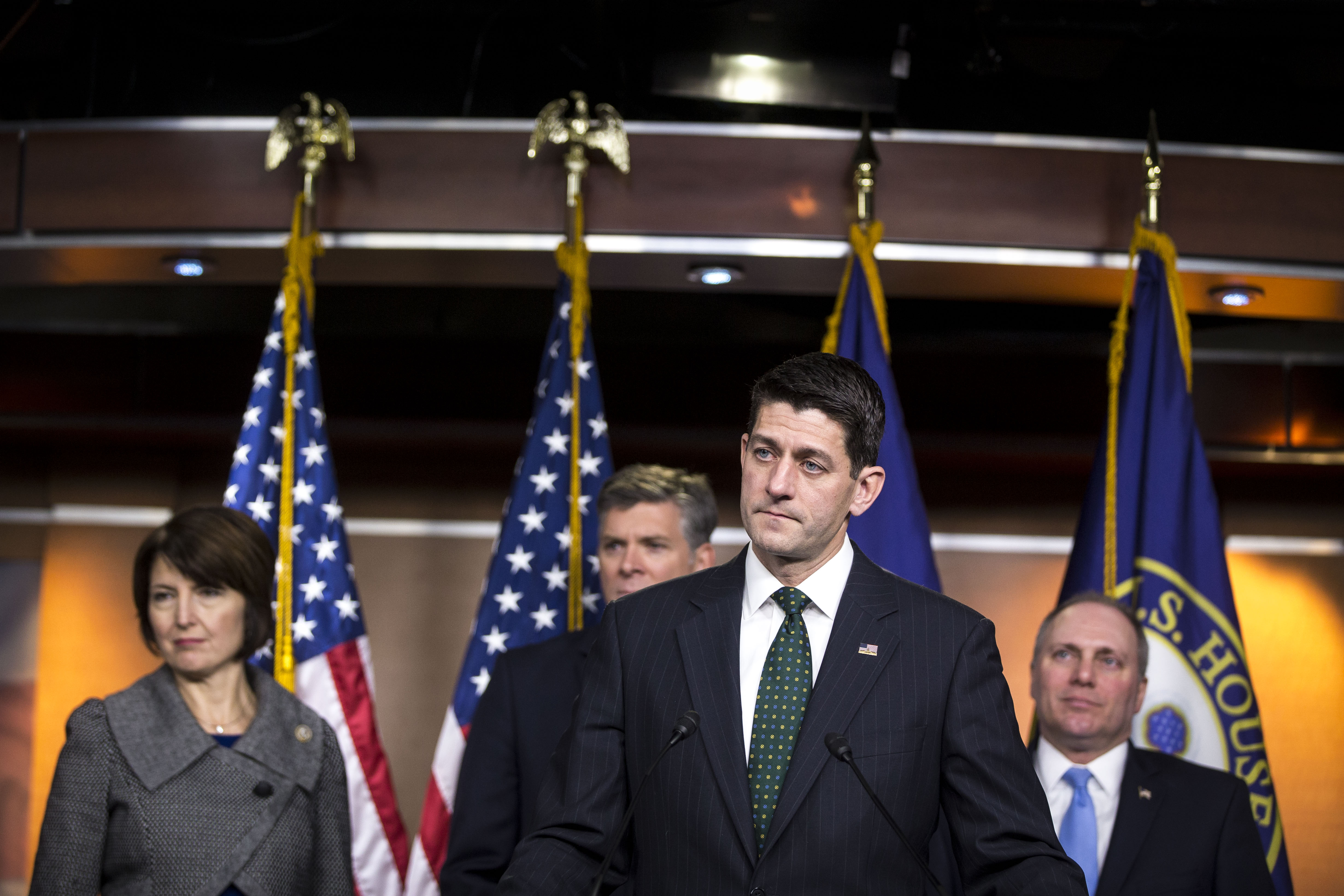 U.S. Speaker of the House Paul Ryan (R-WI) speaks in front of Rep. Cathy McMorris Rodgers (R-WA), Rep. Darin LaHood (R-IL), and House Majority Whip Steve Scalise (R-LA) during a news conference on Capitol Hill December 12, 2017 in Washington, DC.