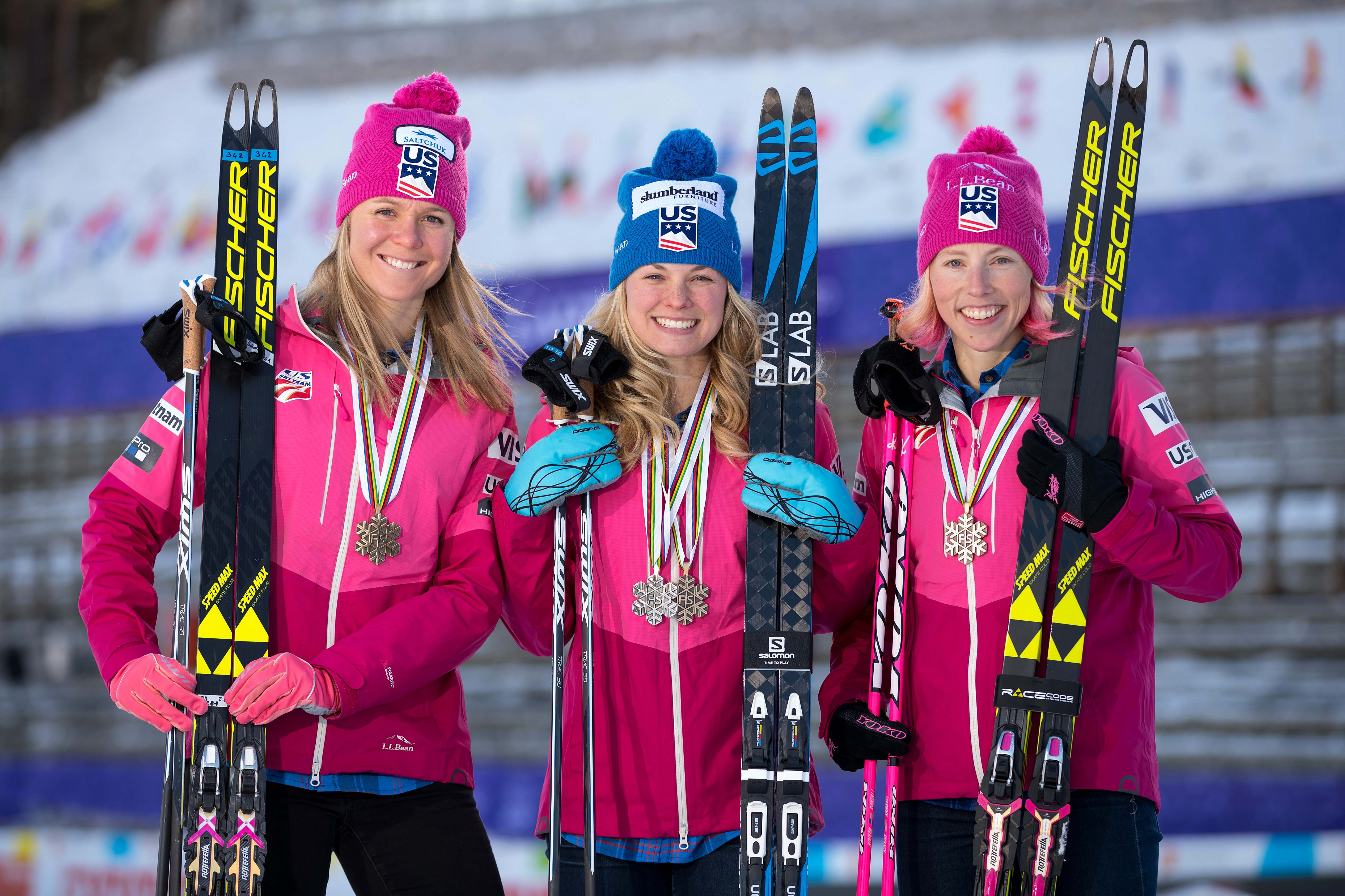 Team USA Medal winners Sadie Bjornsen, Jessica Diggins and Kikkan Randall pose for a portrait with their medals at the FIS Nordic World Ski Championships on March 5, 2017 in Lahti, Finland. Richard Heathcote—Getty Images.