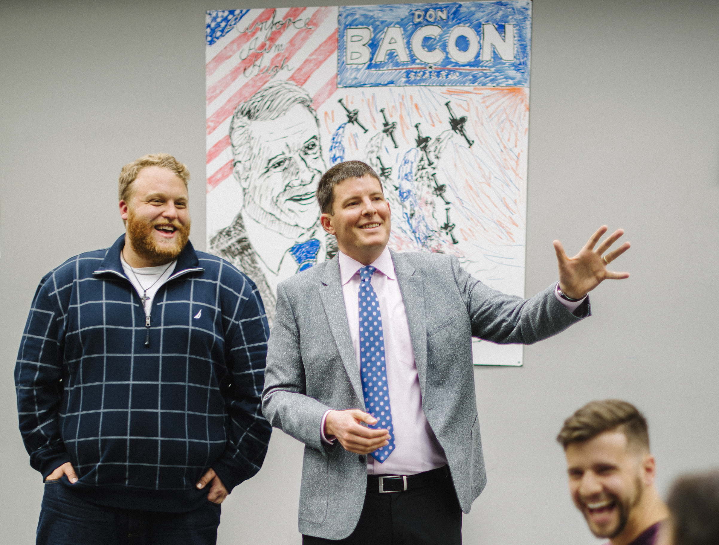 Bliss visits his super PAC's field office in the Omaha district of Representative Don Bacon to ensure volunteers are connecting with voters. Unlike other outside groups, Bliss has focused on the ground game instead of airing attack ads