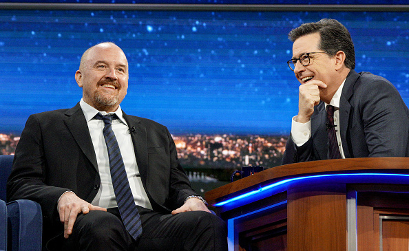 Stephen Colbert talks with Louis C.K. during the April 4, 2017 taping of The Late Show in New York.