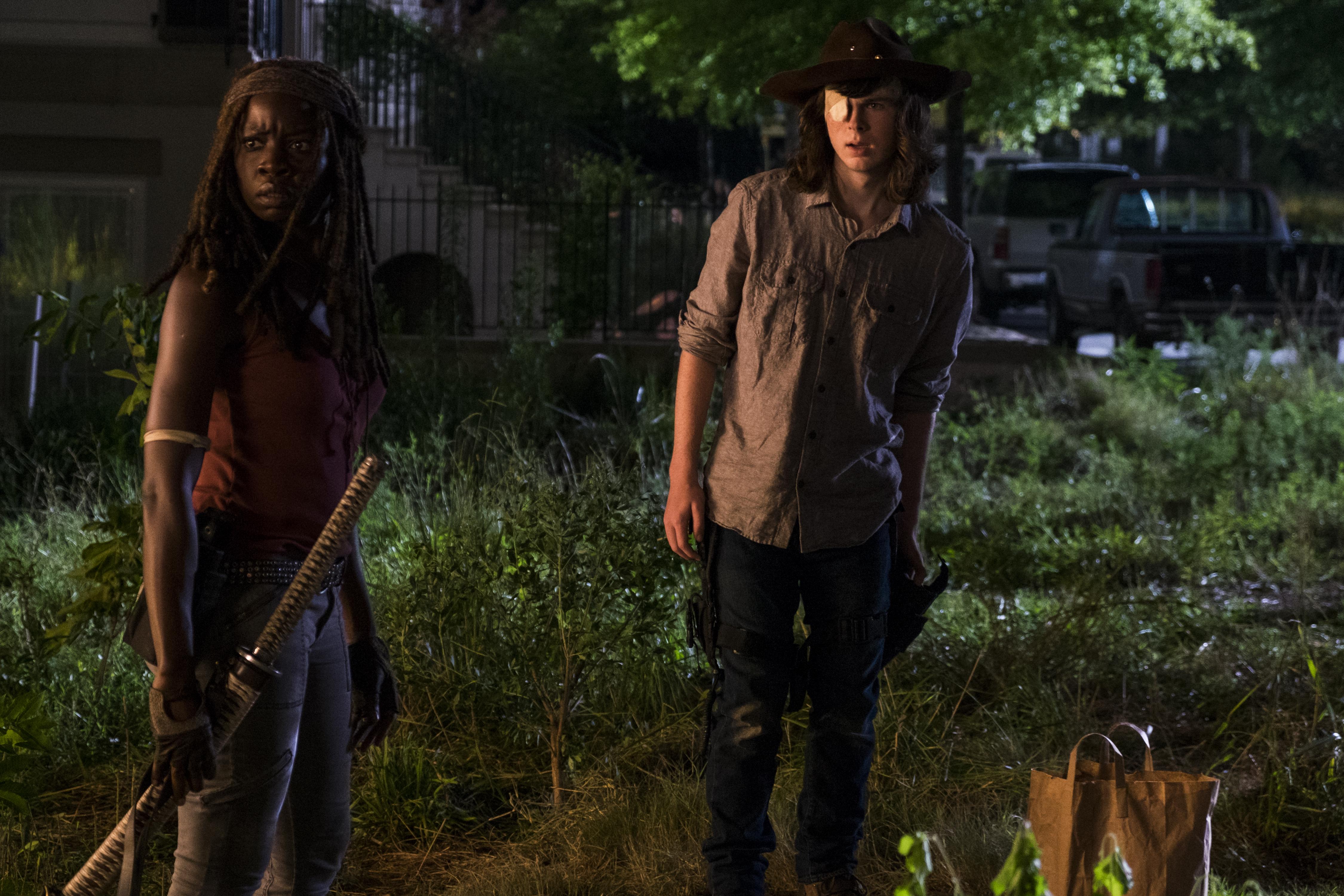 Chandler Riggs as Carl Grimes and Danai Gurira as Michonne in 'The Walking Dead' Season 8, Episode 8.