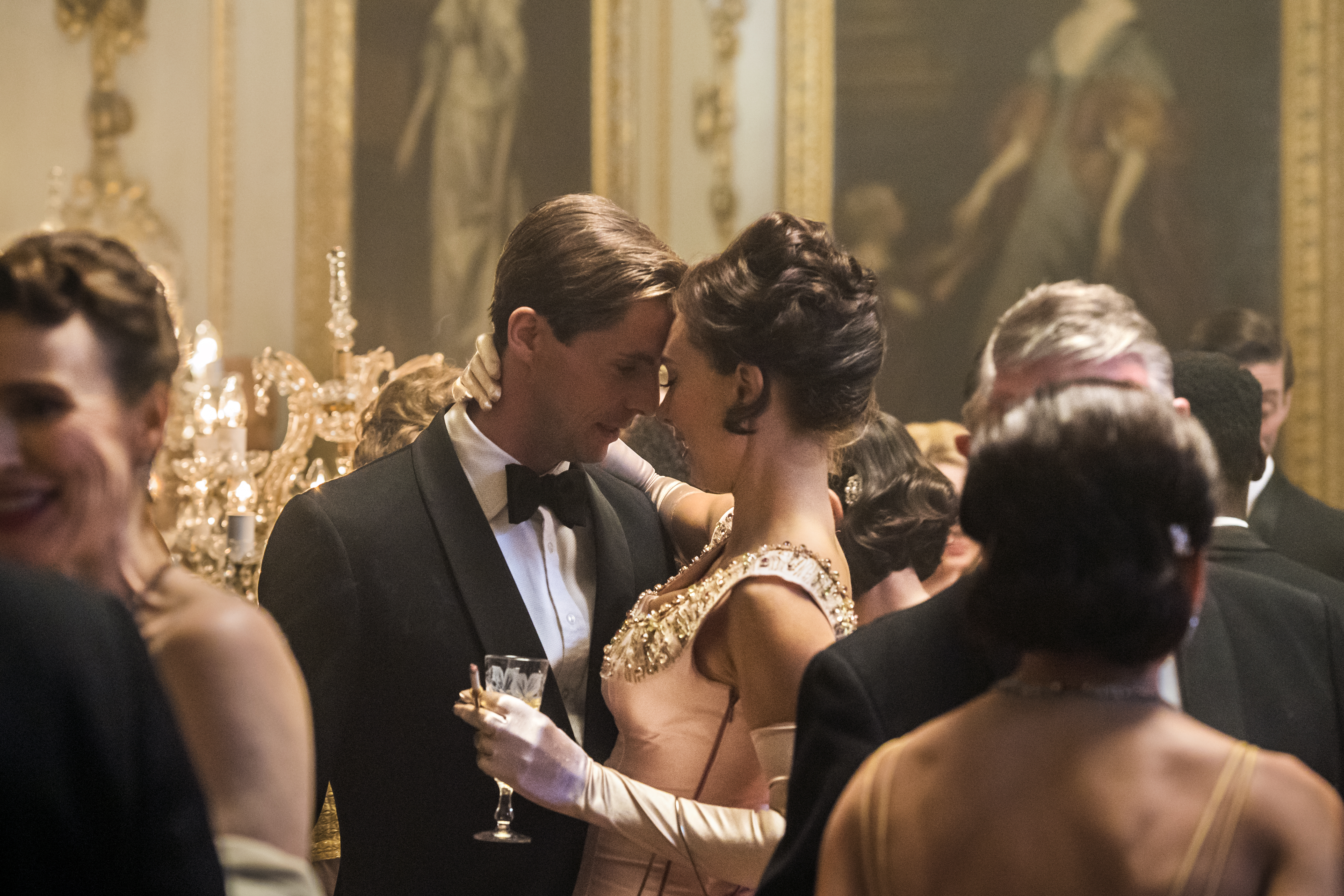 Antony Armstrong-Jones and Princess Margaret share a moment at their engagement party in The Crown.