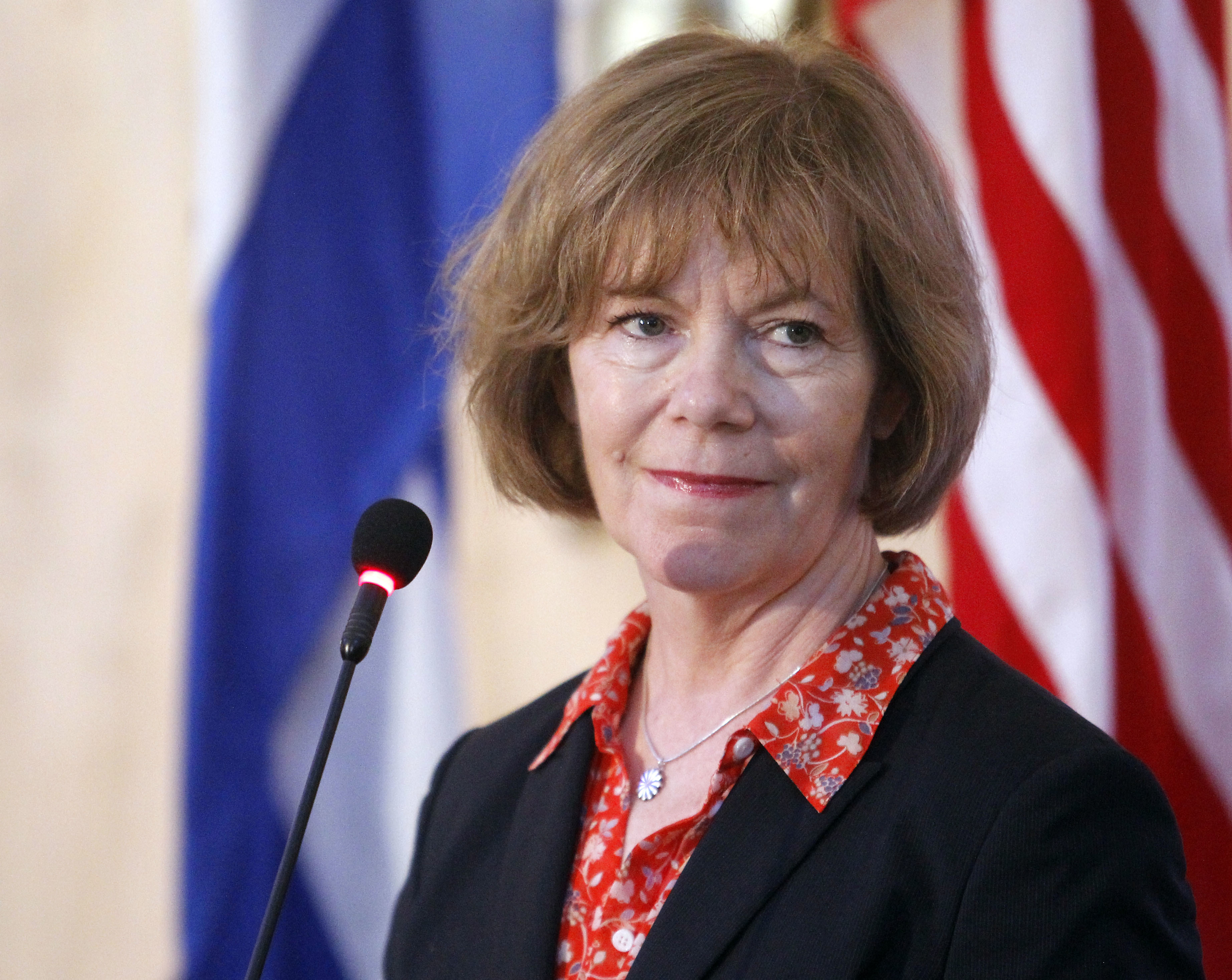 Tina Smith, Vice Governor of Minnesota looks on during a press conference as part of her official visit on June 22, 2017 in Havanna, Cuba.