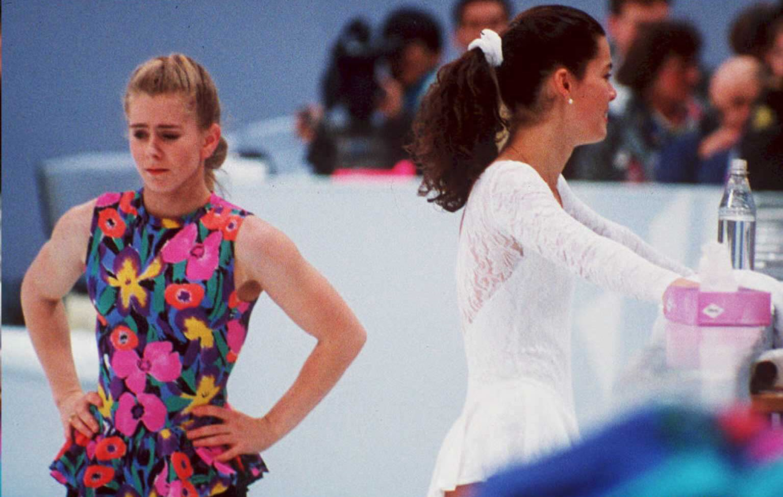U.S. figure skaters Tonya Harding (L) and Nancy Kerrigan avoid each other during a training session on Feb. 17 in Hamar, Norway, during the 1994 Winter Olympics.