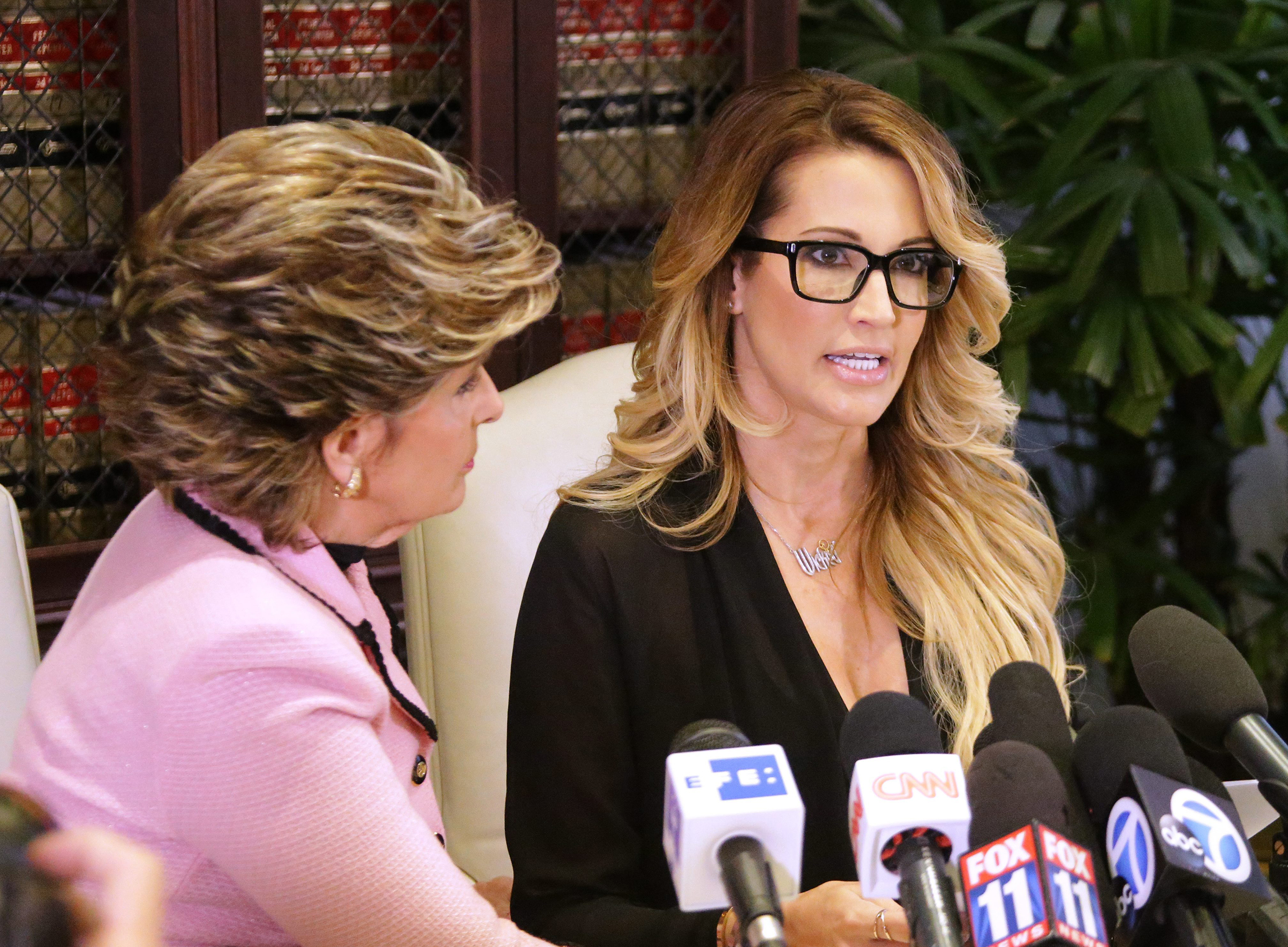 Jessica Drake reads a statement on Oct. 22, 2016. (Mike Nelson)