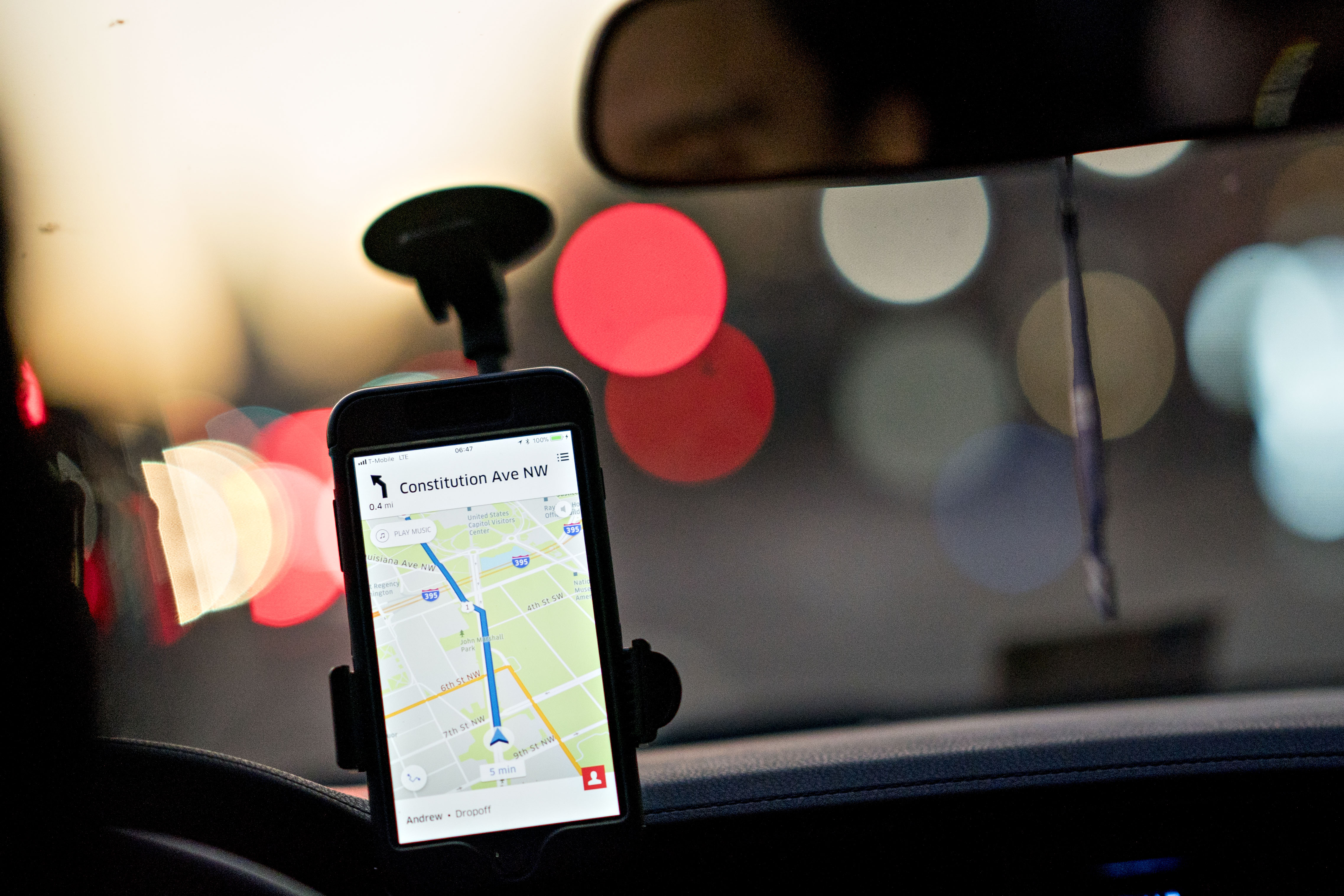 A driver uses an Uber Technologies Inc. car service app.