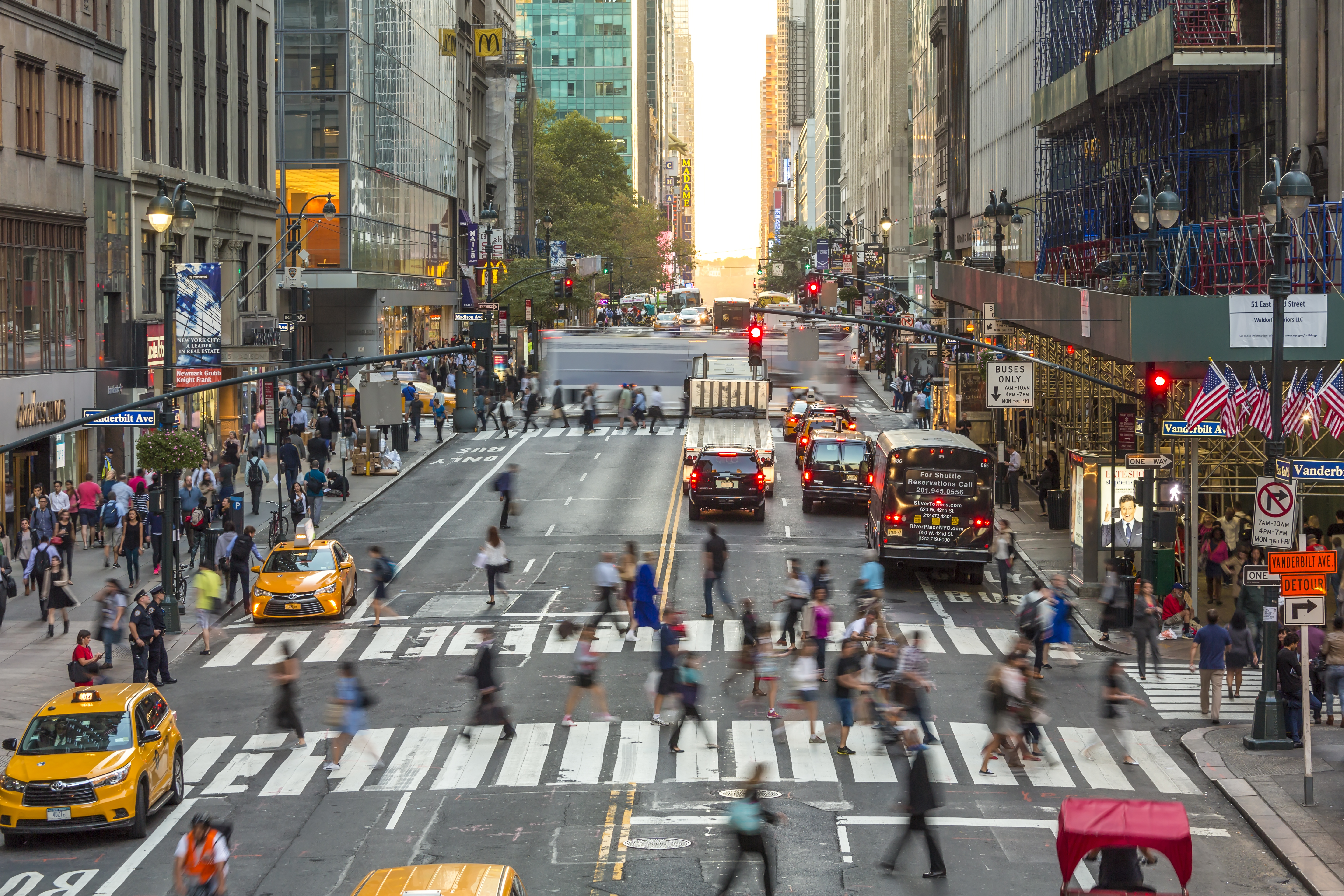 A busy Avenue in New York City.