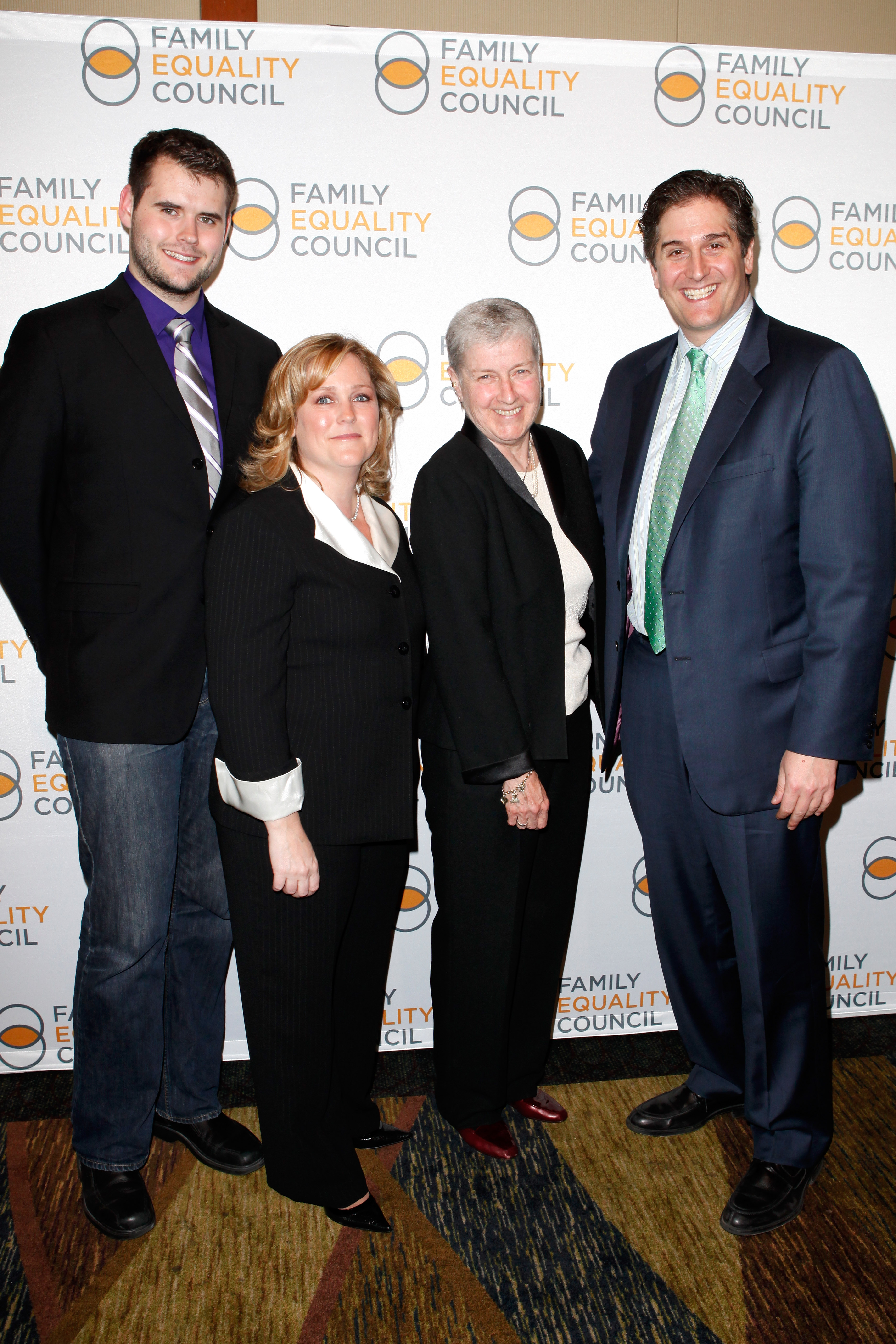 Zach Wahls, Executive director Jennifer Chrisler, Hostetter-Habib Family Award winner Mary T. Keane, and Event chair Nick Scandalios attend the Family Equality Concil's Night at Pier 60 on April 25, 2011 in New York City.  (Photo by Cindy Ord/Getty Images)