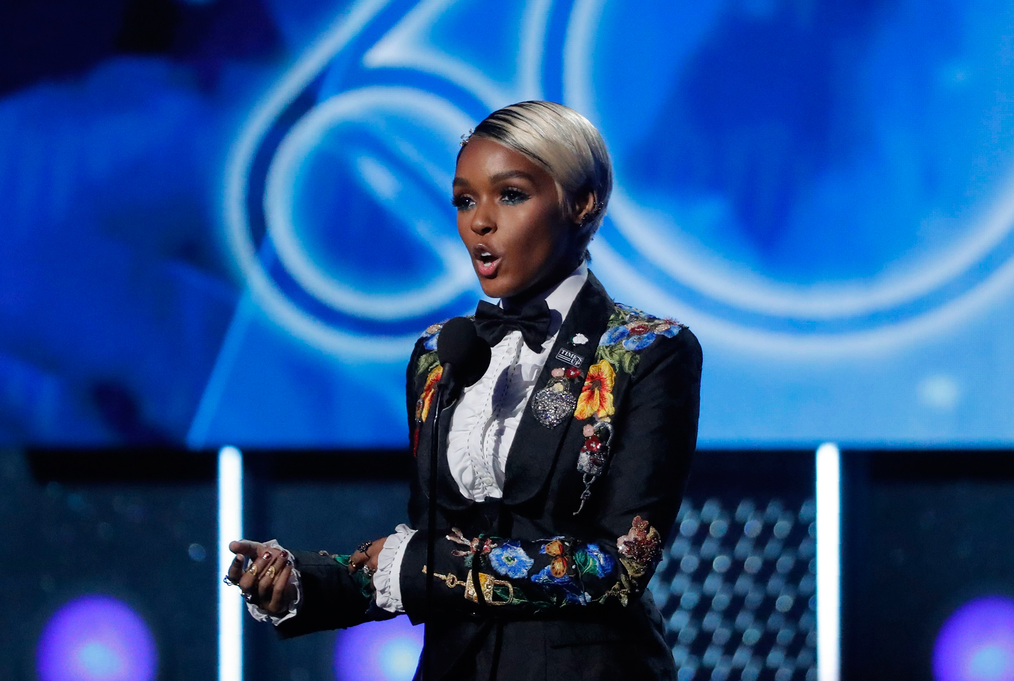 Janelle Monae introduces a performance by Kesha at the 60th Annual Grammy Awards, Jan. 28, 2018.