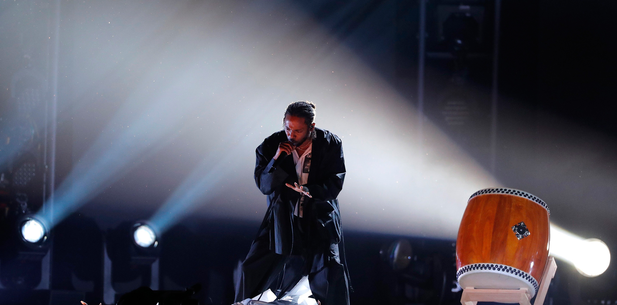 Kendrick Lamar performs during the 60th Annual Grammy Awards in New York on Jan. 28, 2018. Lucas Jackson—Reuters