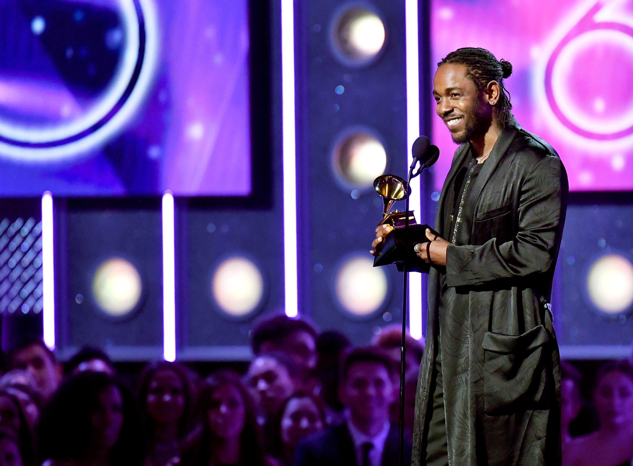 Recording artist Kendrick Lamar accepts award for Best Rap Album onstage during the 60th Annual Grammy Awards at Madison Square Garden on Jan. 28, 2018 in New York City. Jeff Kravitz—FilmMagic/Getty Images