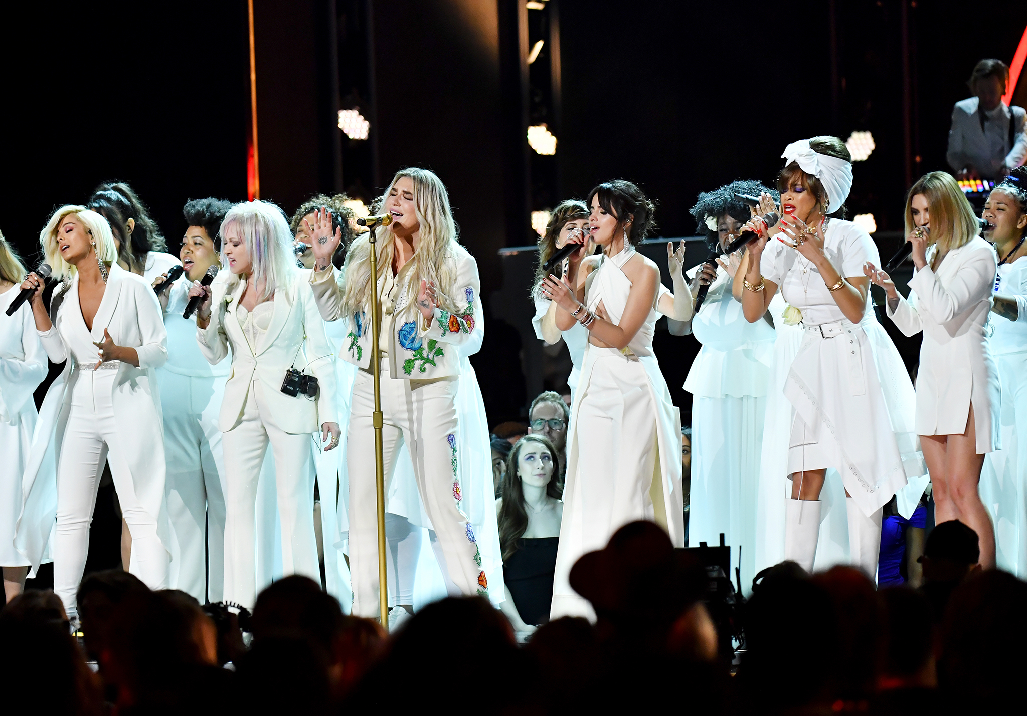 Recording artists Bebe Rexha, Cyndi Lauper, Kesha, Camila Cabello, Andra Day and Julia Michaels perform onstage during the 60th Annual GRAMMY Awards at Madison Square Garden on January 28, 2018 in New York City. Jeff Kravitz—FilmMagic/Getty Images