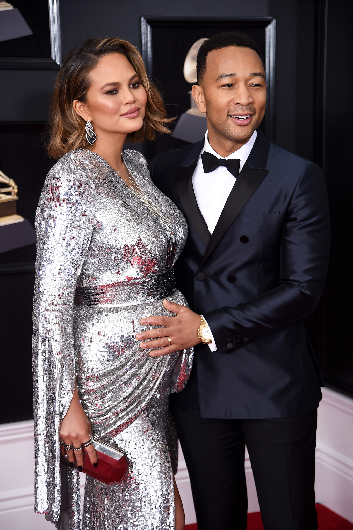 Chrissy Teigen and recording artist John Legend attend the 60th Annual GRAMMY Awards at Madison Square Garden on January 28, 2018 in New York Cityl