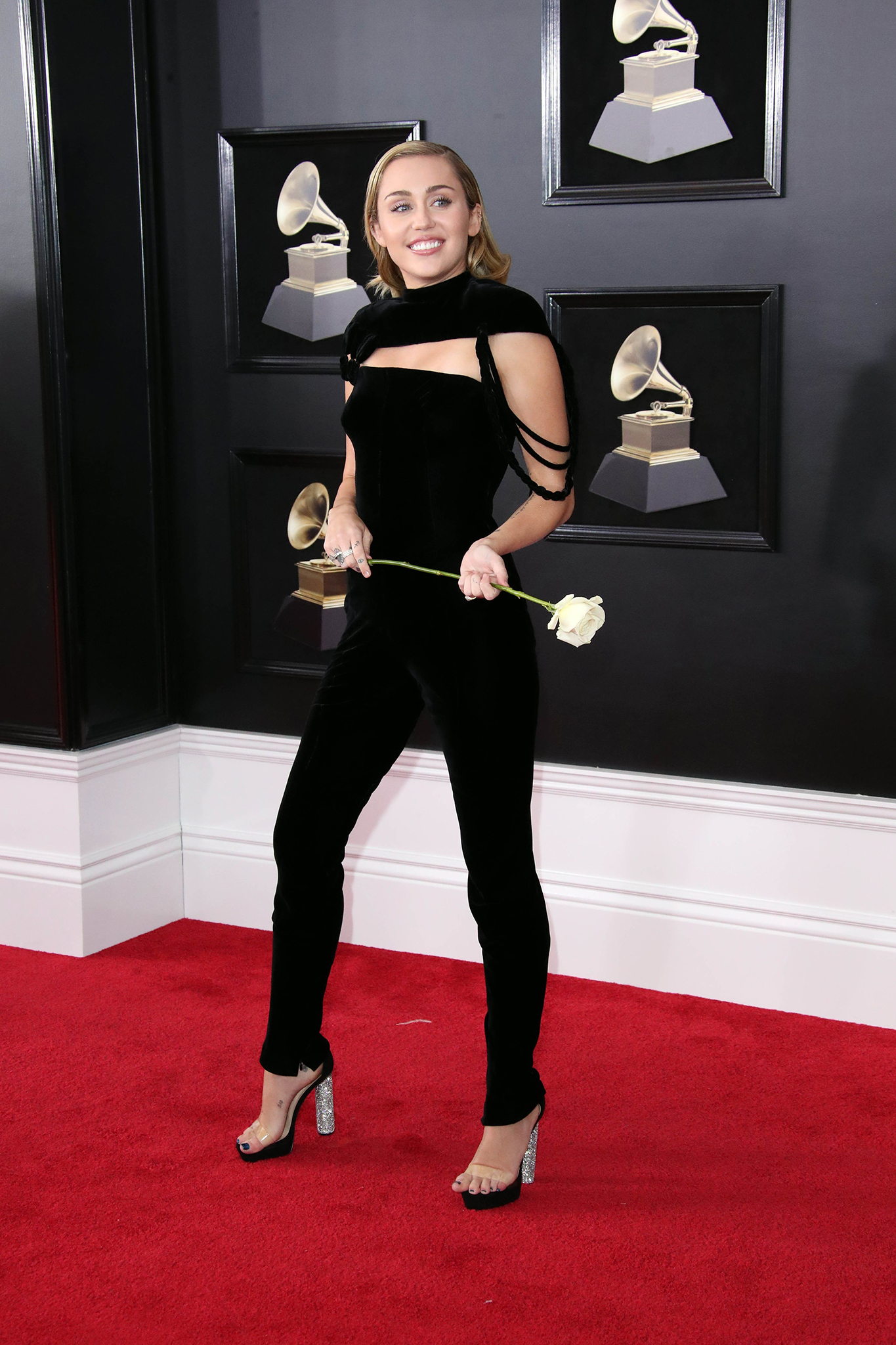 Miley Cyrus arrives at the 60th Annual Grammy Awards at Madison Square Garden.