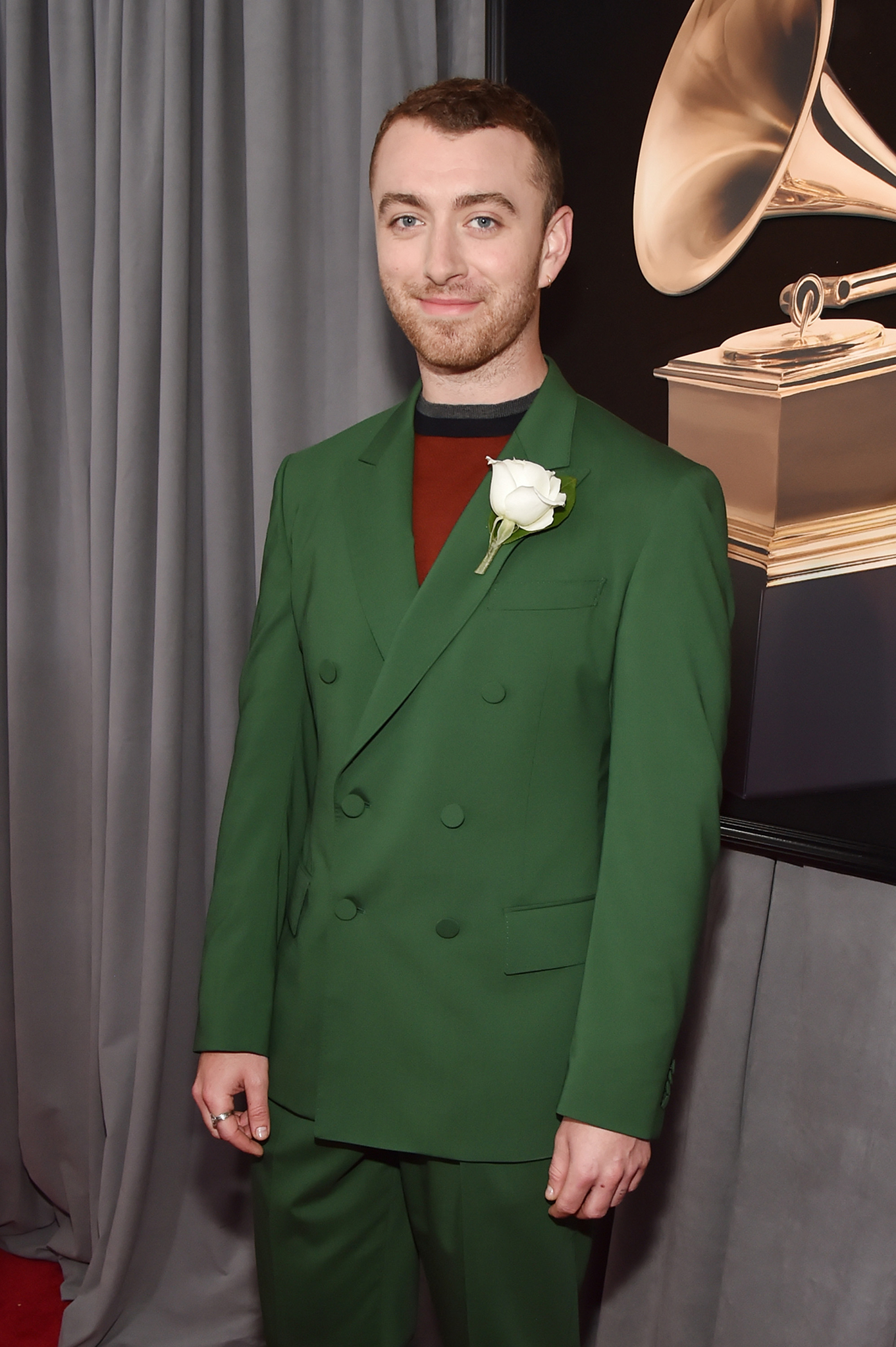 Recording artist Sam Smith, white rose detail, attends the 60th Annual GRAMMY Awards at Madison Square Garden on January 28, 2018 in New York City.