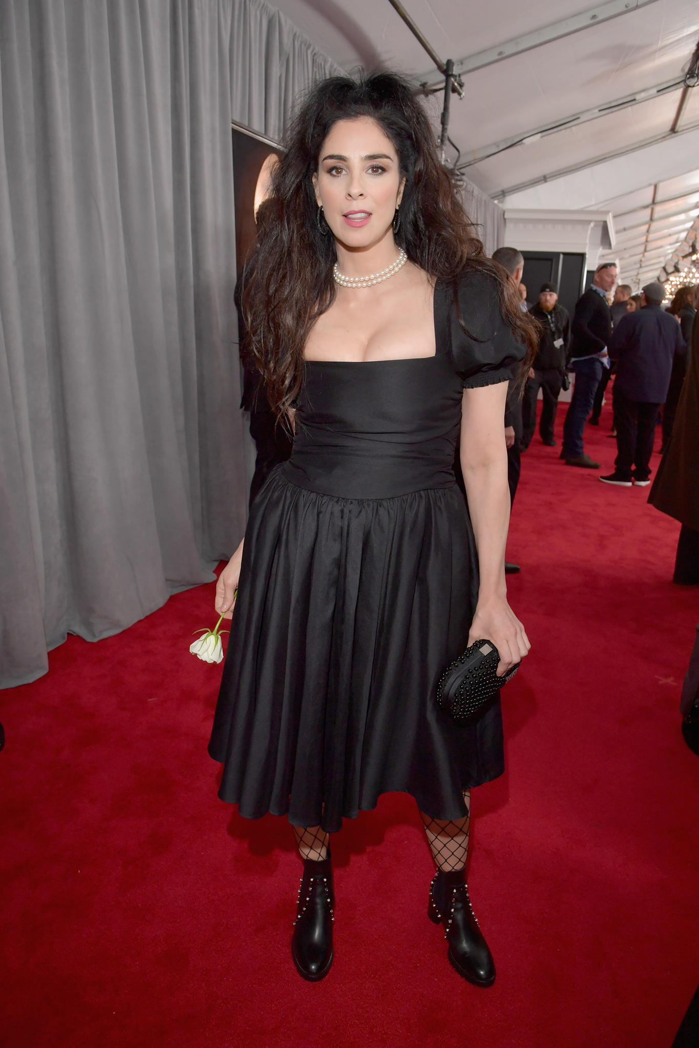 Comedian Sarah Silverman, white rose detail, attends the 60th Annual GRAMMY Awards at Madison Square Garden on January 28, 2018 in New York City.