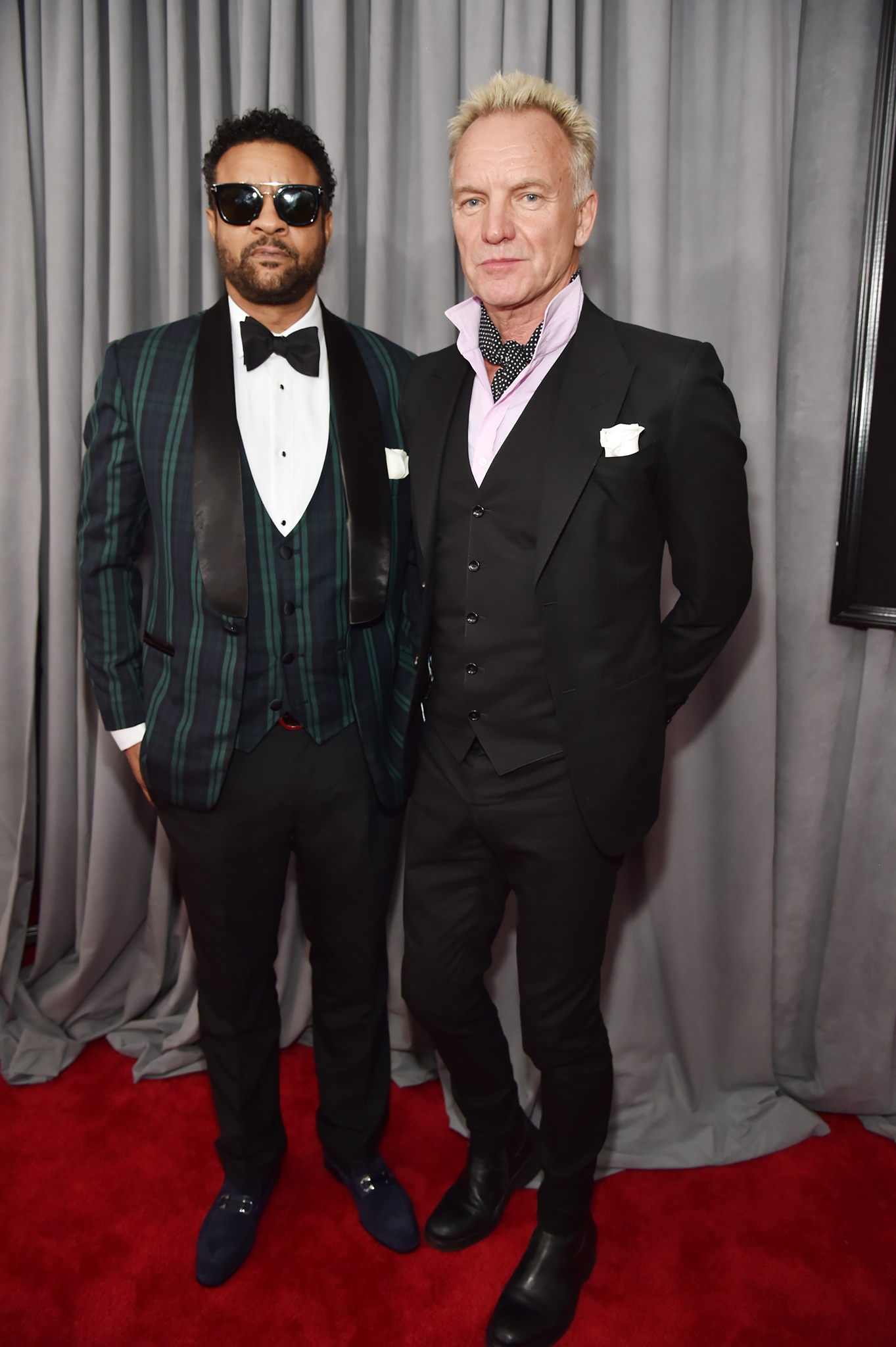 Recording artists Shaggy and Sting, white rose details, attend the 60th Annual GRAMMY Awards at Madison Square Garden on January 28, 2018 in New York City.