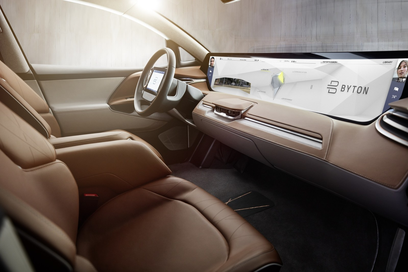 BYTON's Shared Experience Display enables content shown to be shared with other passengers in the car (PRNewsfoto/BYTON)