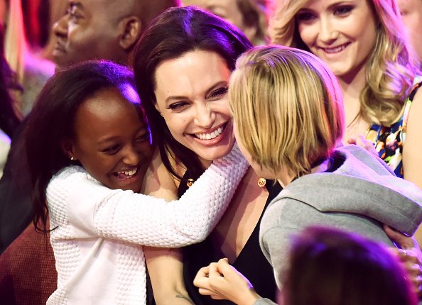 (L-R) Zahara Marley Jolie-Pitt, Angelina Jolie and Shiloh Nouvel Jolie-Pitt at The Forum in Inglewood, California on March 28, 2015.