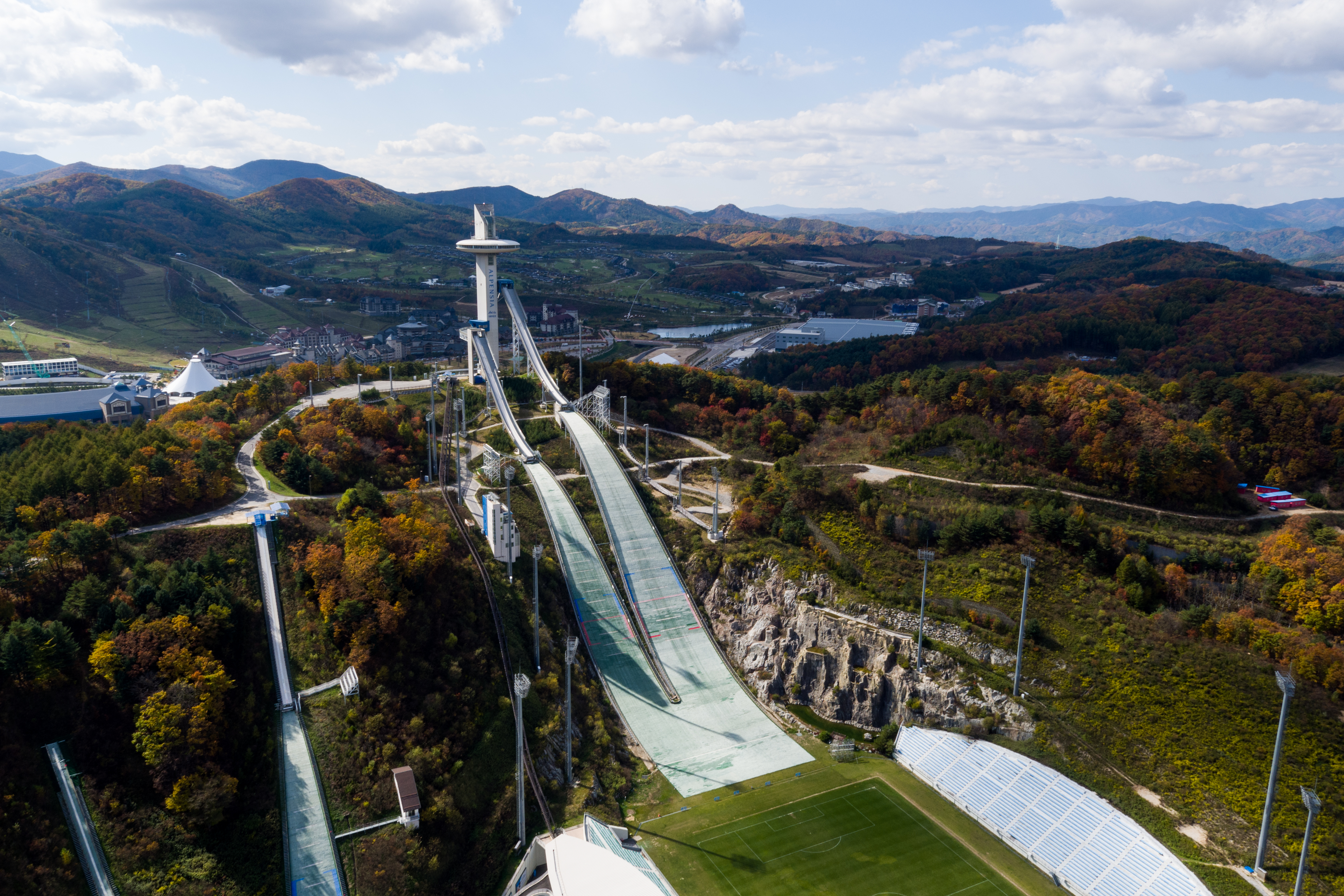 Hills stand at the Alpensia Ski Jumping Stadium, the venue for ski jumping events at the 2018 PyeongChang Winter Olympic Games.