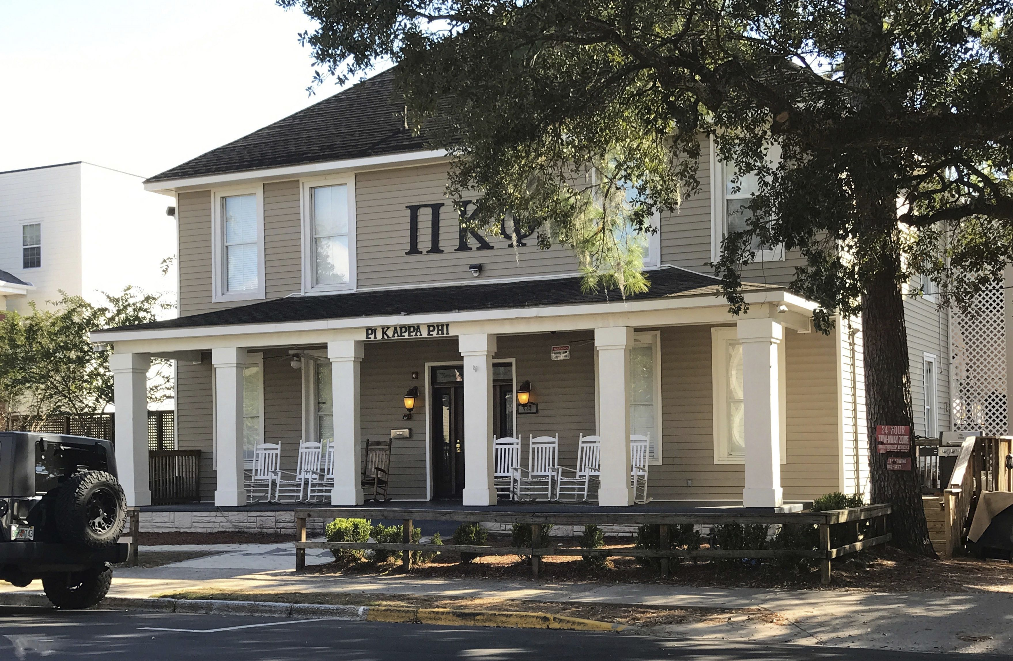 The Pi Kappa Phi fraternity house is seen near Florida State University in Tallahassee, Fla., on Nov. 7, 2017.
