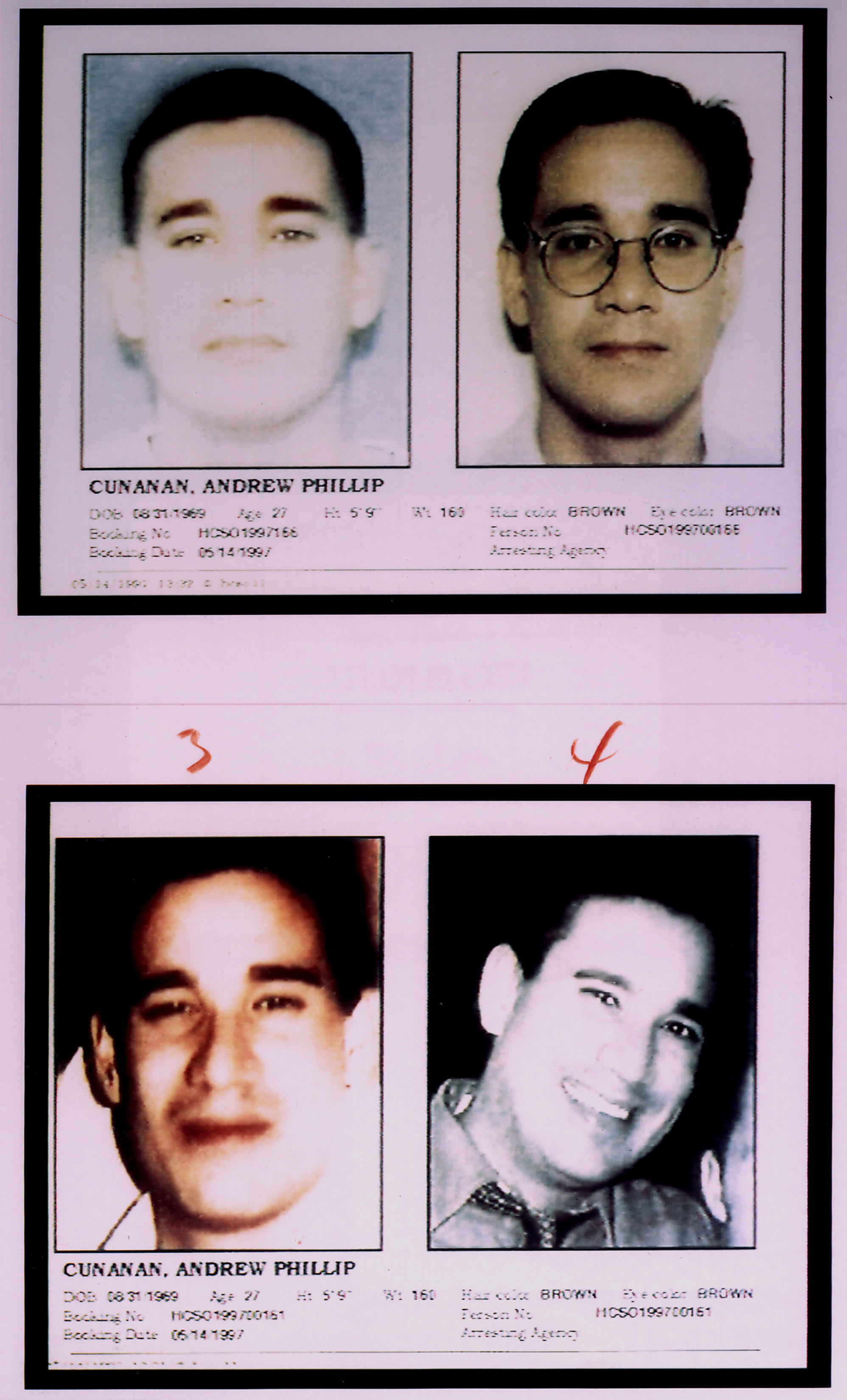 Four mug shots of Andrew Cunanan, who shot and killed fashion designer Gianni Versace.