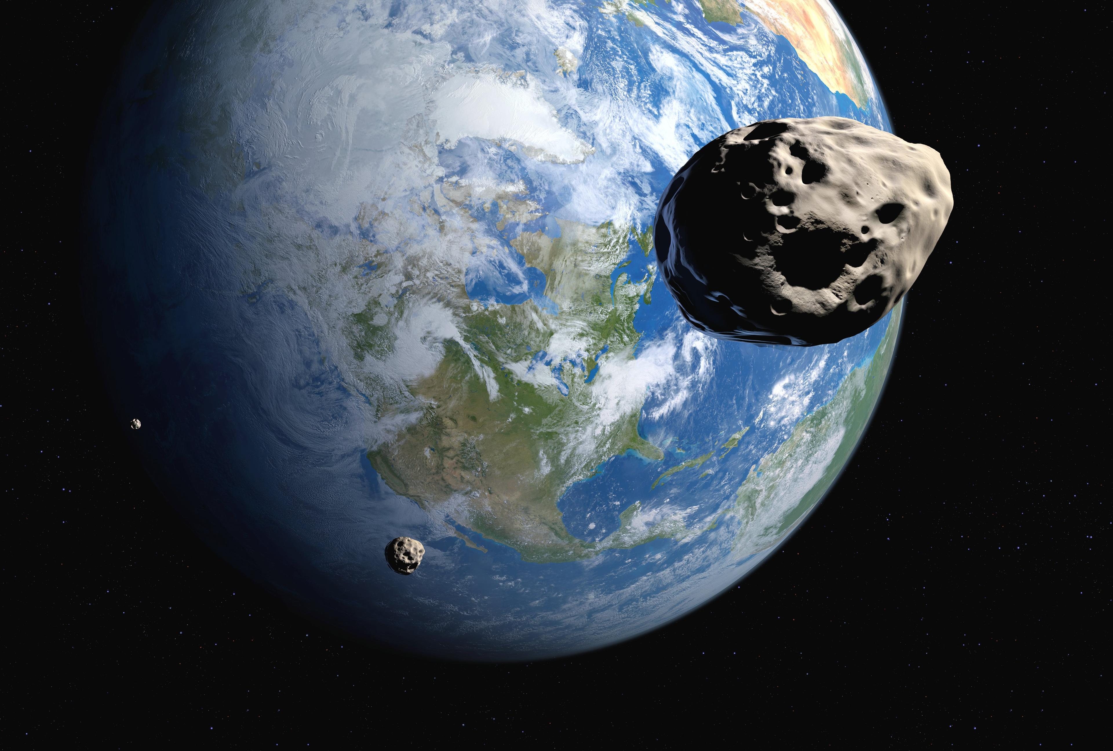 Near-Earth asteroids illustration.