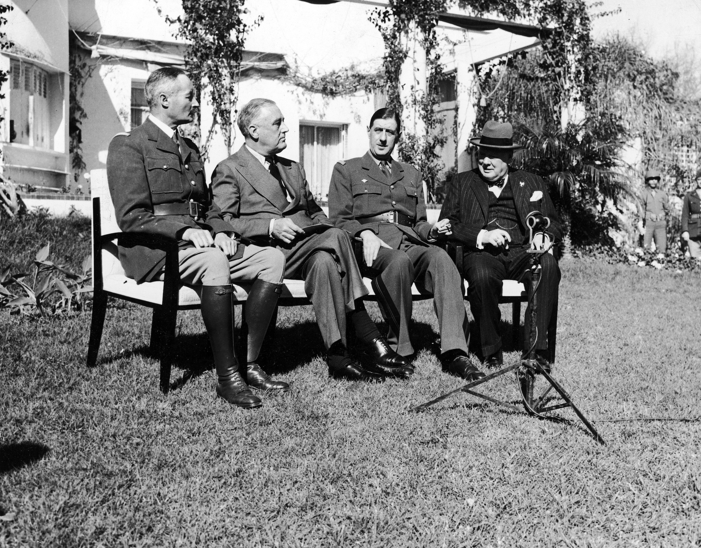 (L-R) French General Henri Giraud, President Franklin D. Roosevelt, French General Charles De Gaulle and British PM Winston Churchill while attending the conference in Casablanca.