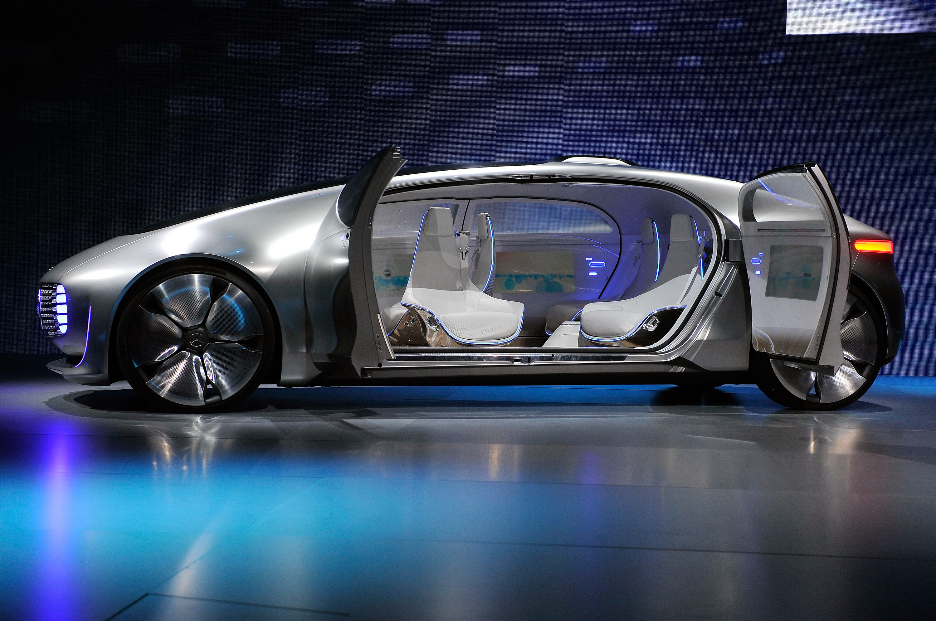 A Mercedes-Benz  F 015 autonomous driving automobile is displayed at the Mercedes-Benz press event at The Chelsea at The Cosmopolitan of Las Vegas for the 2015 International CES on January 5, 2015 in Las Vegas, Nevada. attendees.  (Photo by David Becker/Getty Images)