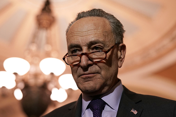 Sen. Chuck Schumer speaks to members of the media after a Senate Democratic Policy Luncheon January 17, 2018 at the Capitol in Washington, DC.