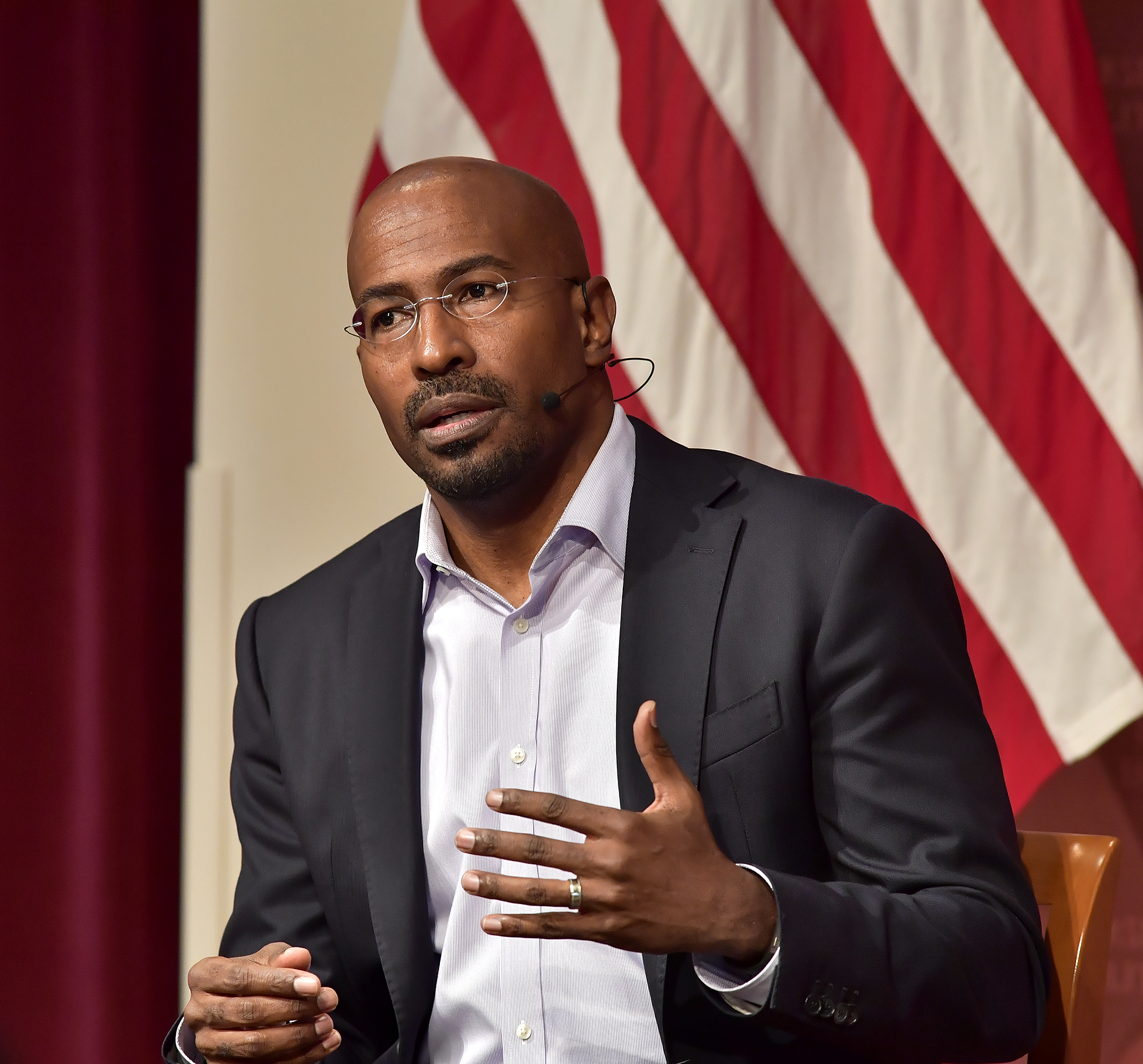 CNN Political Correspondent Van Jones speaks at Harvard University John F. Kennedy Junior Forum, Oct. 13, 2017 in Cambridge, Mass.