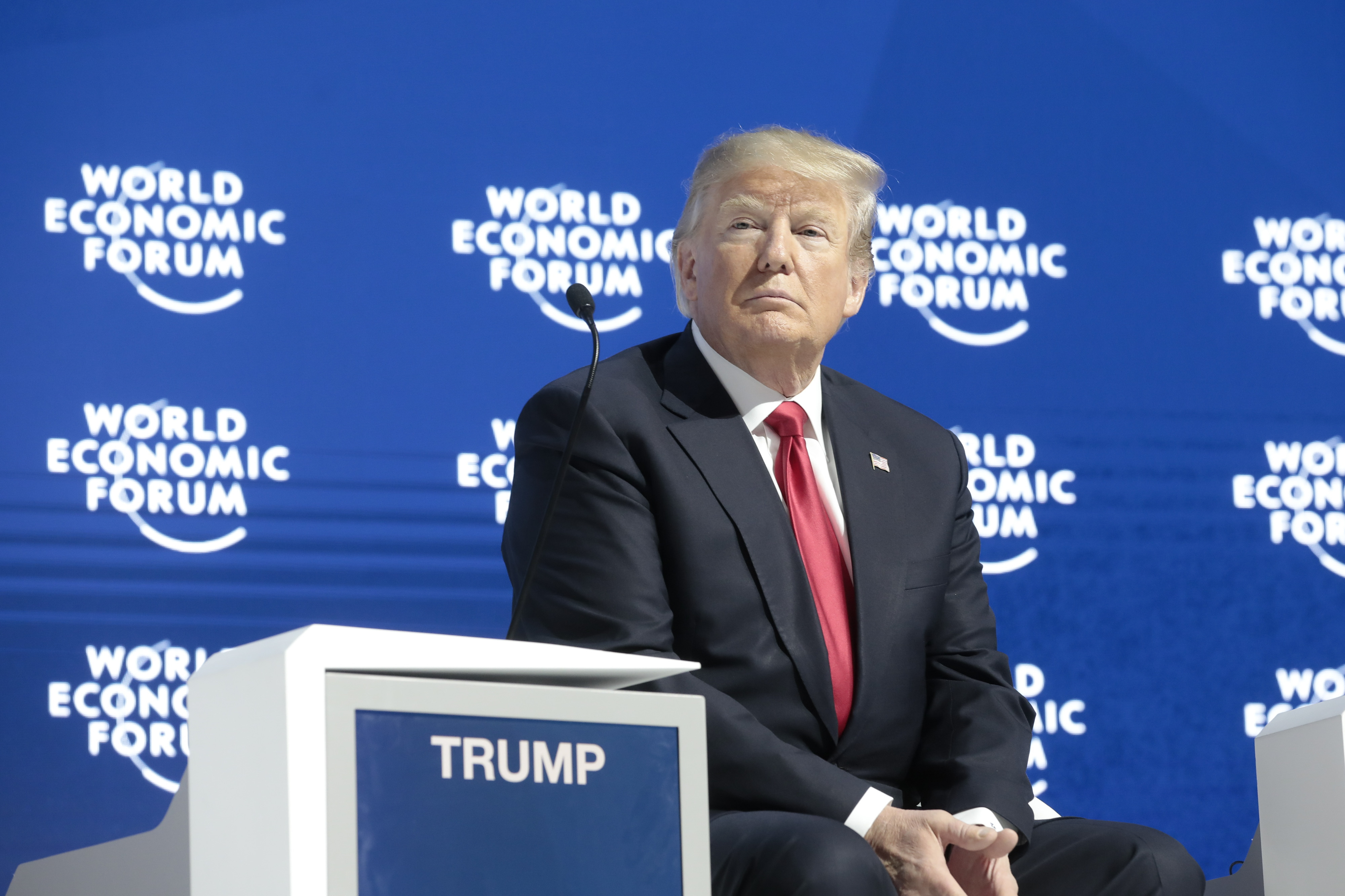 President Donald Trump looks on ahead of a special address on the closing day of the World Economic Forum in Davos, Switzerland, on Friday, Jan. 26, 2018. (Getty)