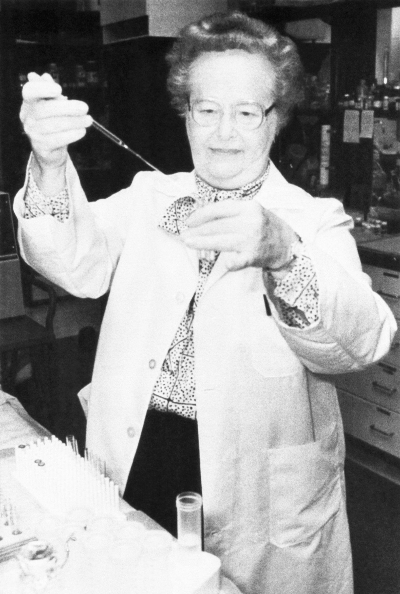 Burroughs Wellcome researcher Gertrude Elion was back at work in the lab after being named a Nobel Prize winner in Medicine in 1988. Elion and coworker George Hitchings were chosen for the honor for their work in developing drugs to treat leukemia and AIDS.