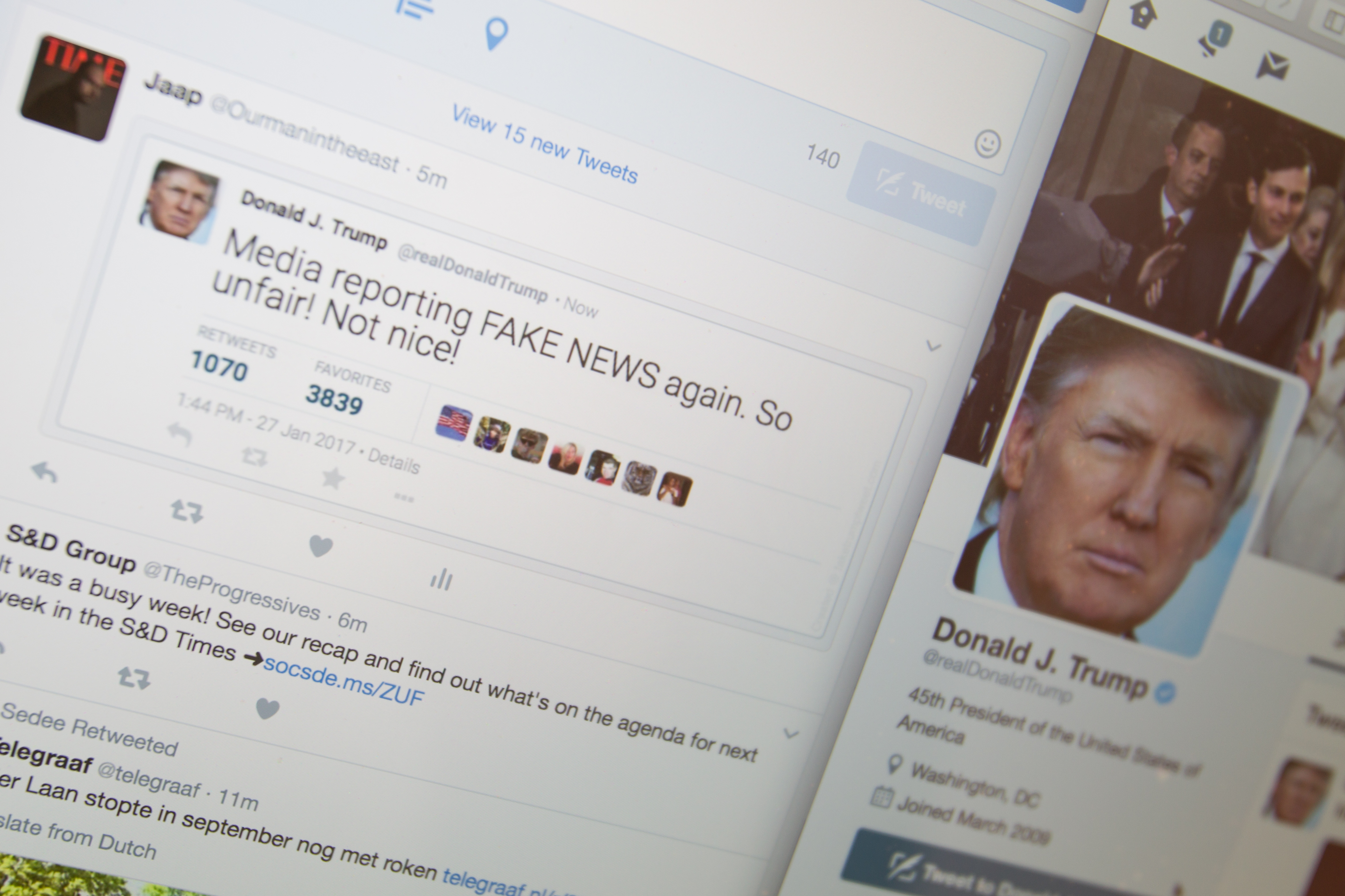 Fake Donald Trump tweets are seen in a Twitter timeline on 27 Friday, 2017. In China a site that generates fake tweets that look as if they were generated by US president Donald Trump are being used to mock the president.
