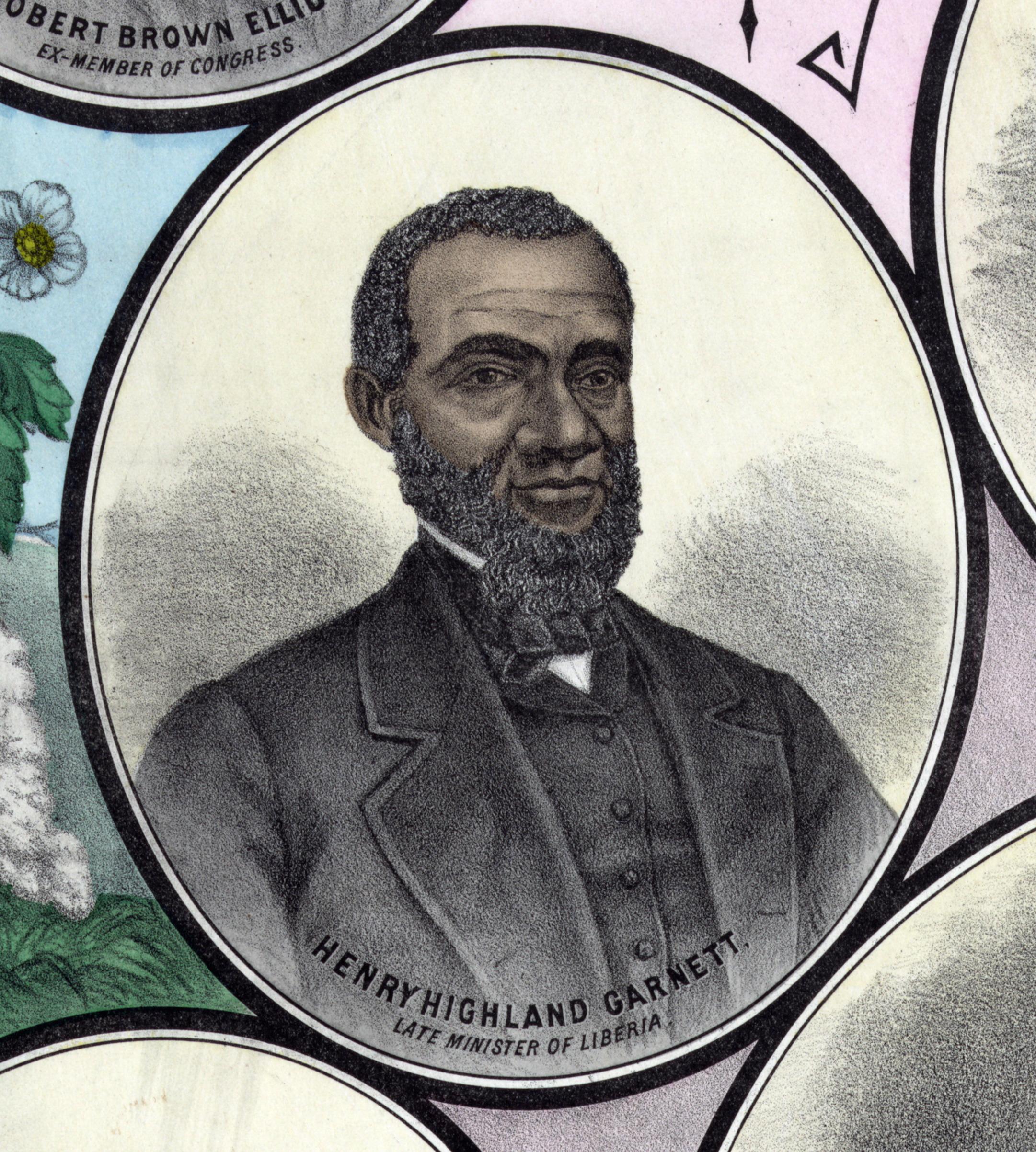 Illustrated portrait of Henry Highland Garnet (1815-1882), African American abolitionist.
