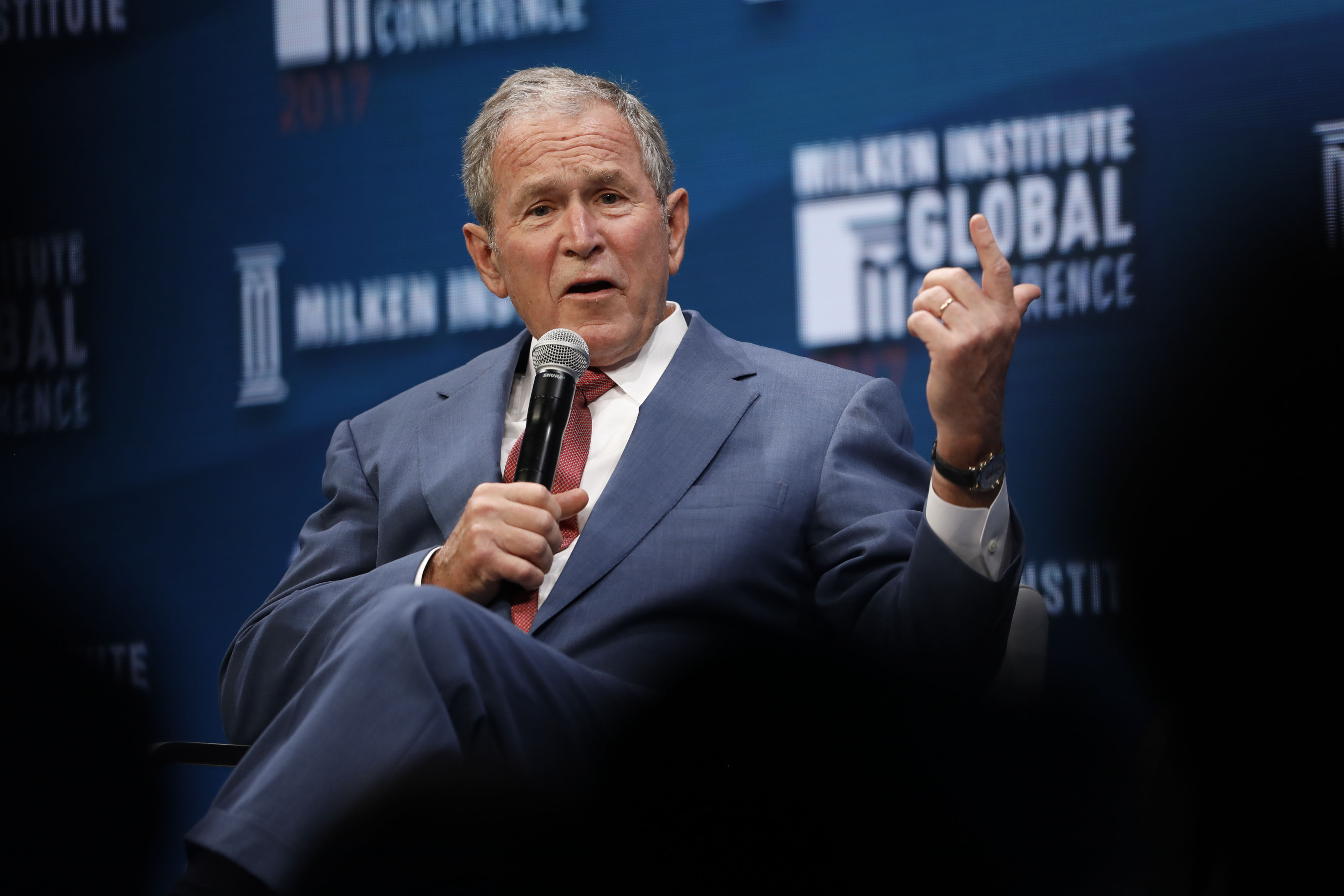 Former U.S. President George W. Bush speaks during the Milken Institute GlobalConference in Beverly Hills, California, U.S., on Wednesday, May 3, 2017. Photographer: Patrick T. Fallon/Bloomberg via Getty Images