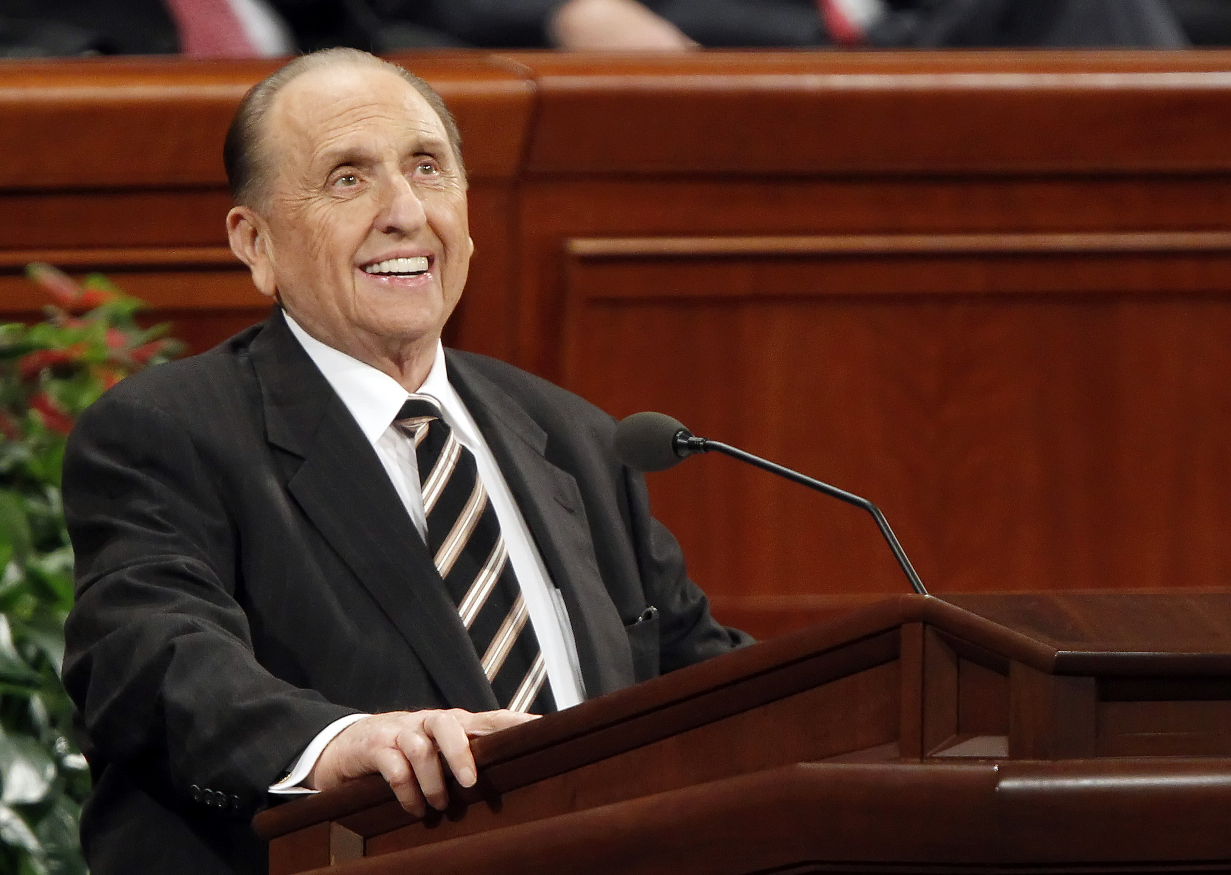 Thomas Monson, president of the Church of Jesus Christ of Latter-day Saints, speaks at the Church's 181st Semiannual General Conference in Salt Lake City, Utah on Oct. 1, 2011.