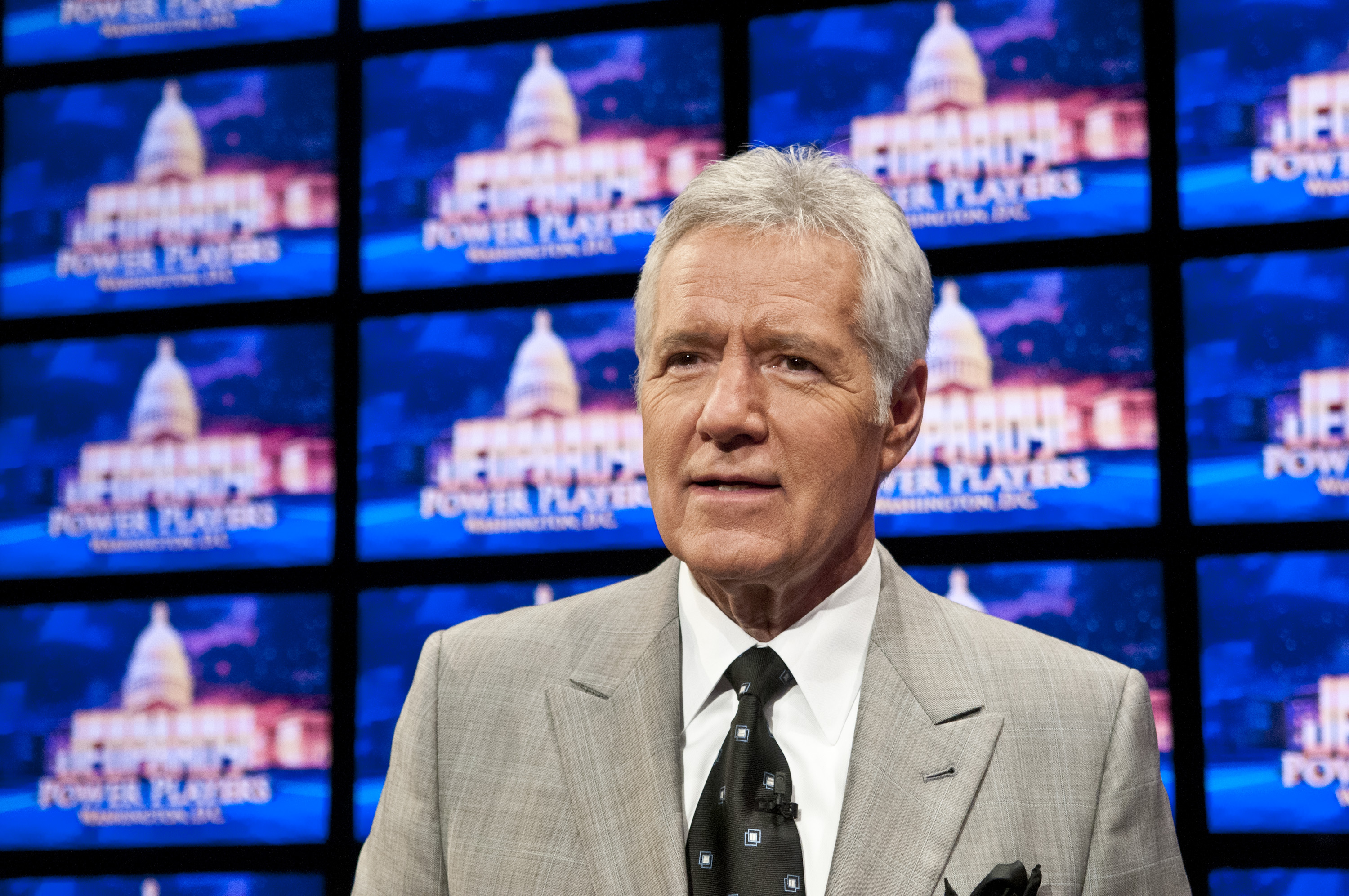 Alex Trebek during a rehearsal before a taping of Jeopardy! Power Players Week at on April 21, 2012 in Washington, DC.