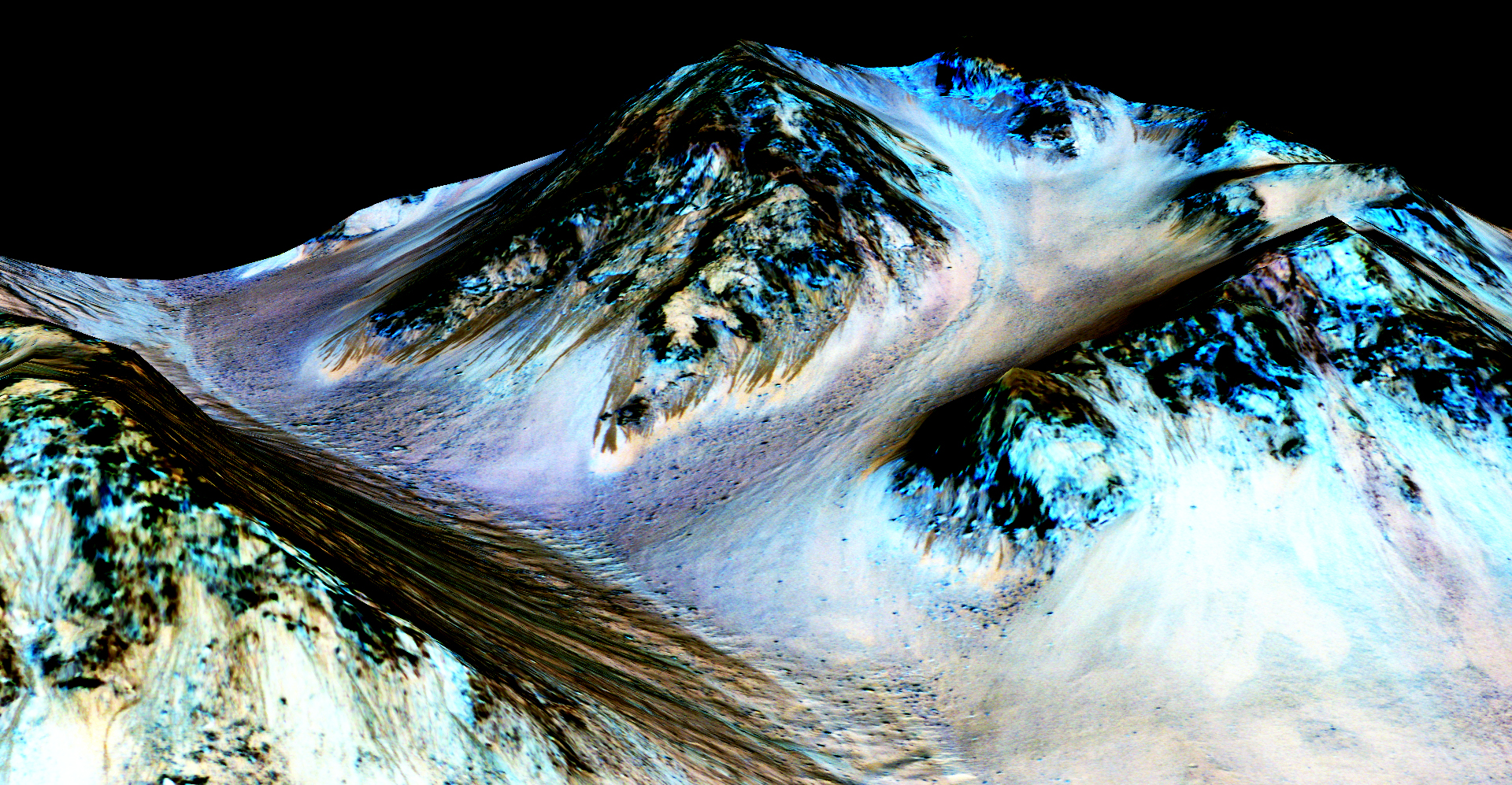 In this handout provided by NASA's Mars Reconnaissance Orbiter, dark, narrow streaks on the slopes of Hale Crater, are inferred to be formed by seasonal flow of water on surface of present-day Mars, reported on September 28, 2015.